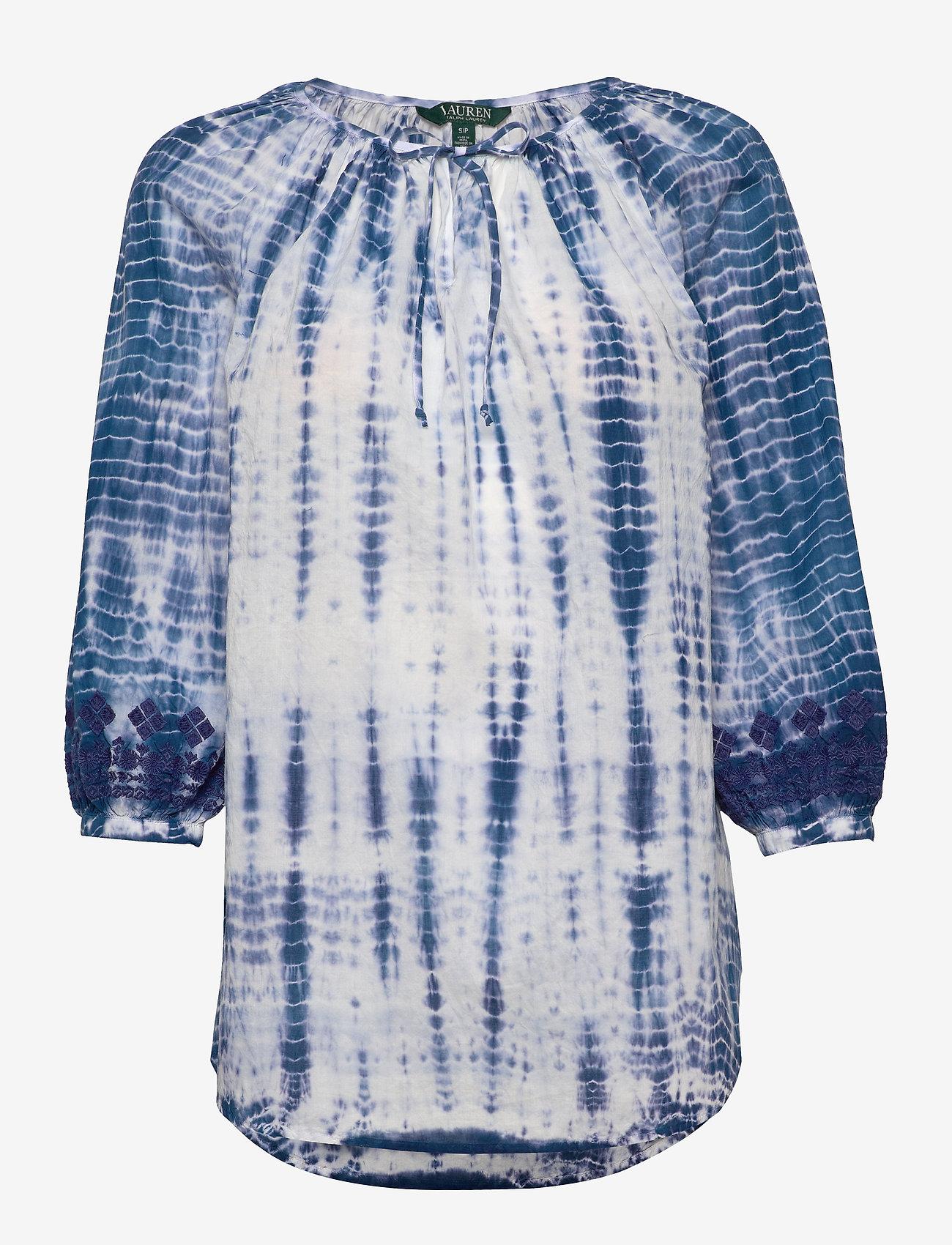 Lauren Ralph Lauren - Tie-Dye Cotton Top - langermede bluser - blue multi - 0