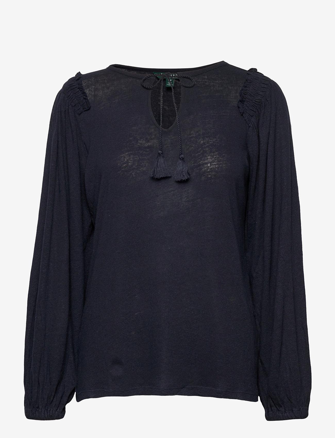 Lauren Ralph Lauren - Linen-Blend Blouson Top - blouses à manches longues - lauren navy - 1