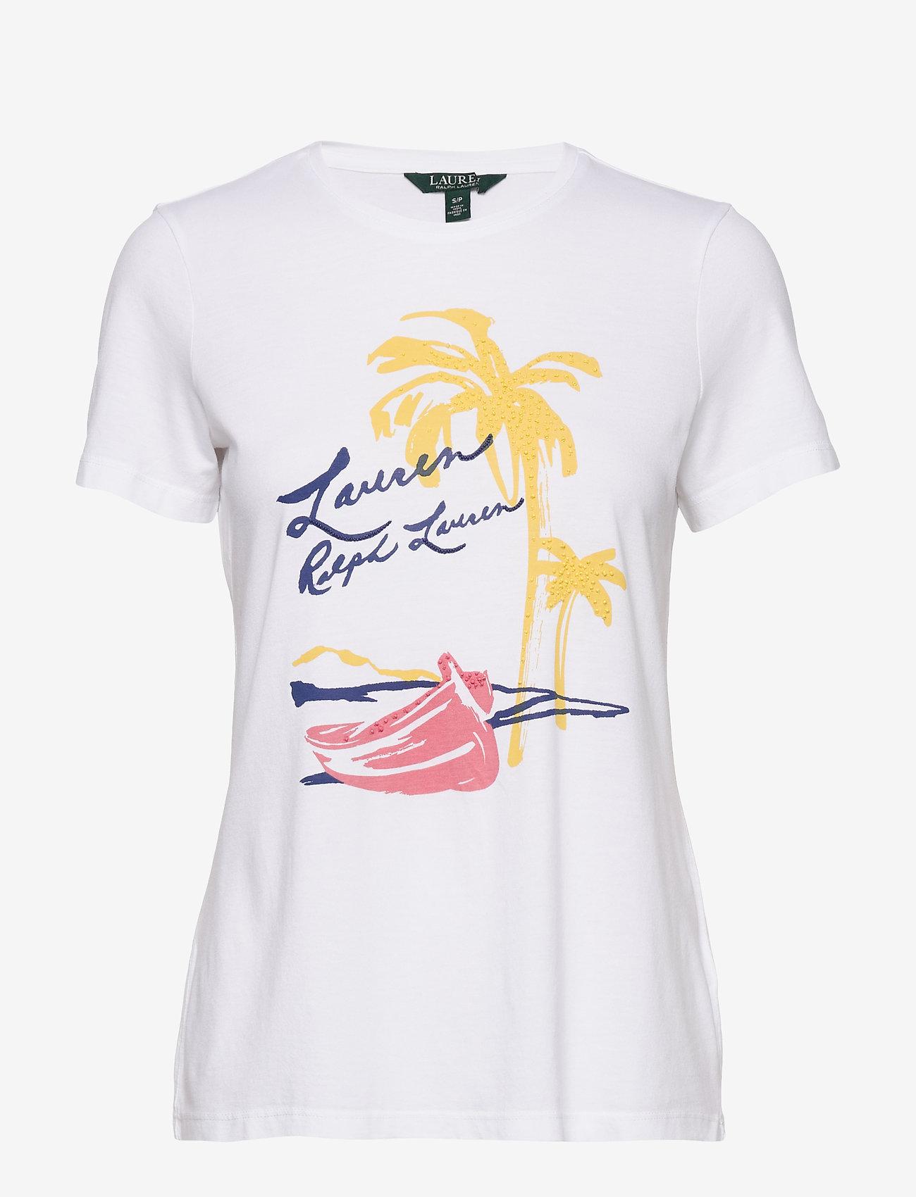 Lauren Ralph Lauren - Print Cotton-Blend Tee - t-shirts - white - 1