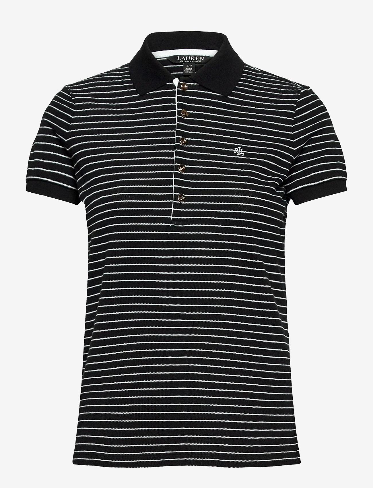 Lauren Ralph Lauren - Striped Piqué Polo Shirt - polos - polo black/white - 1