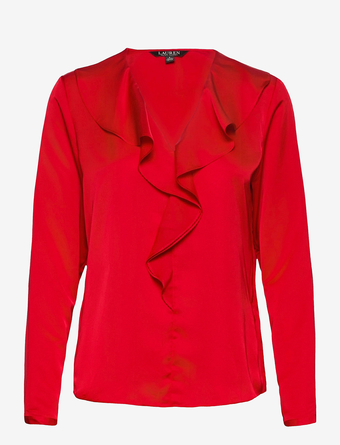 Lauren Ralph Lauren - Ruffle-Trim Sateen Top - blouses à manches longues - lipstick red - 1
