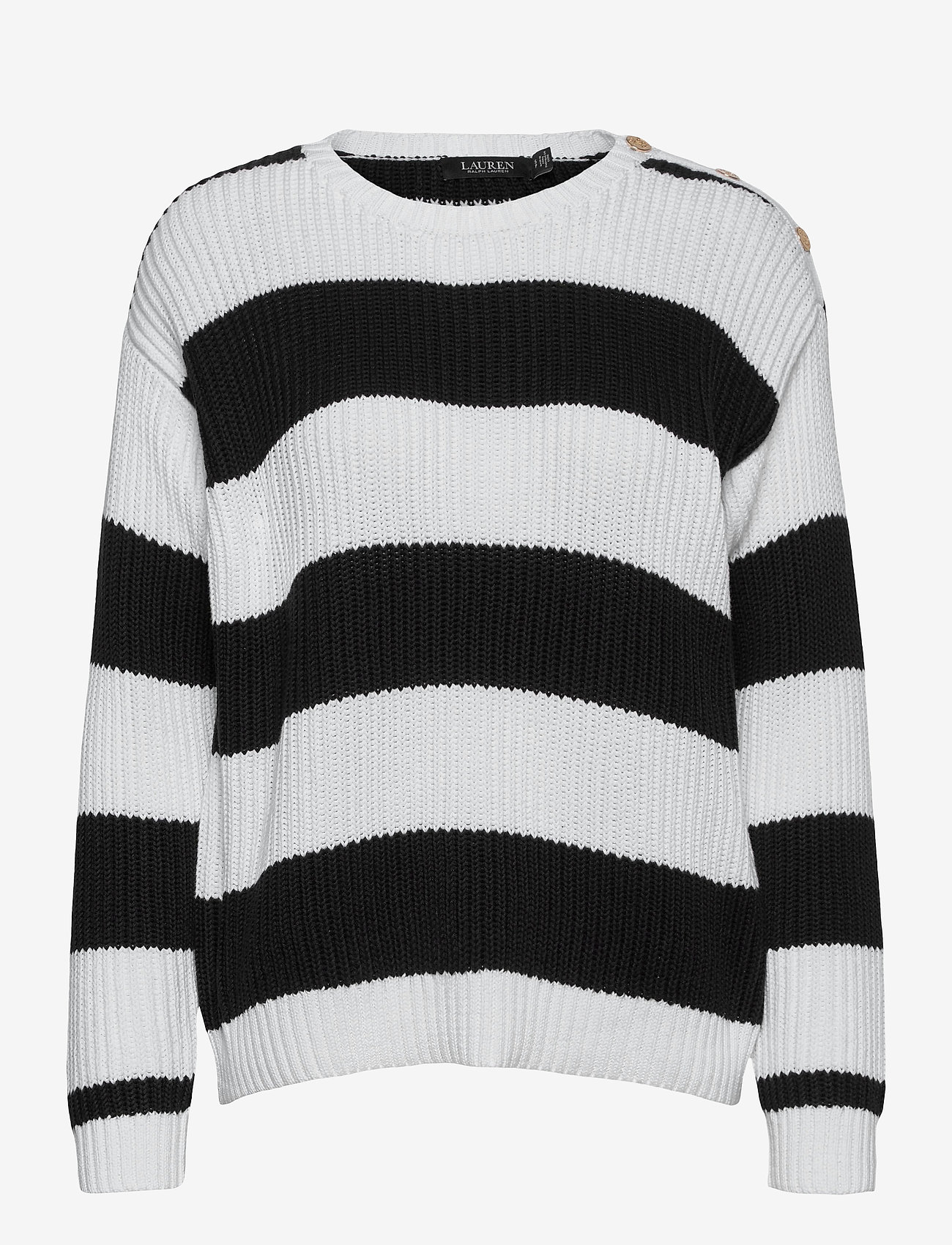 Lauren Ralph Lauren - Striped Button-Trim Cotton Sweater - trøjer - white/polo black - 1