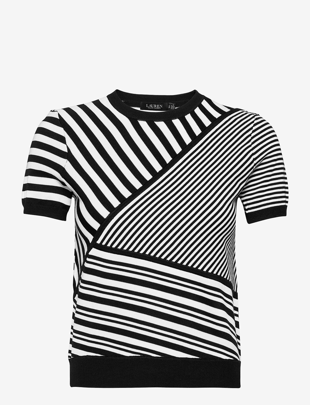 Lauren Ralph Lauren - Striped Patchwork Short-Sleeve Sweater - gebreide t-shirts - polo black/white - 0