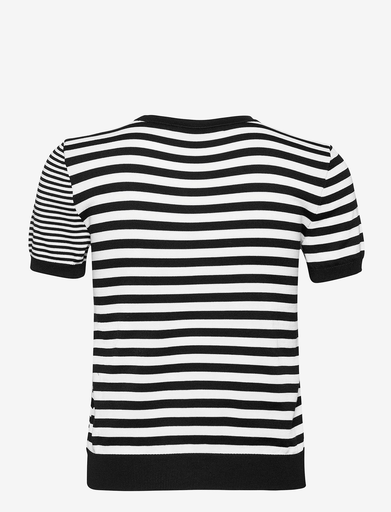 Lauren Ralph Lauren - Striped Patchwork Short-Sleeve Sweater - gebreide t-shirts - polo black/white - 1