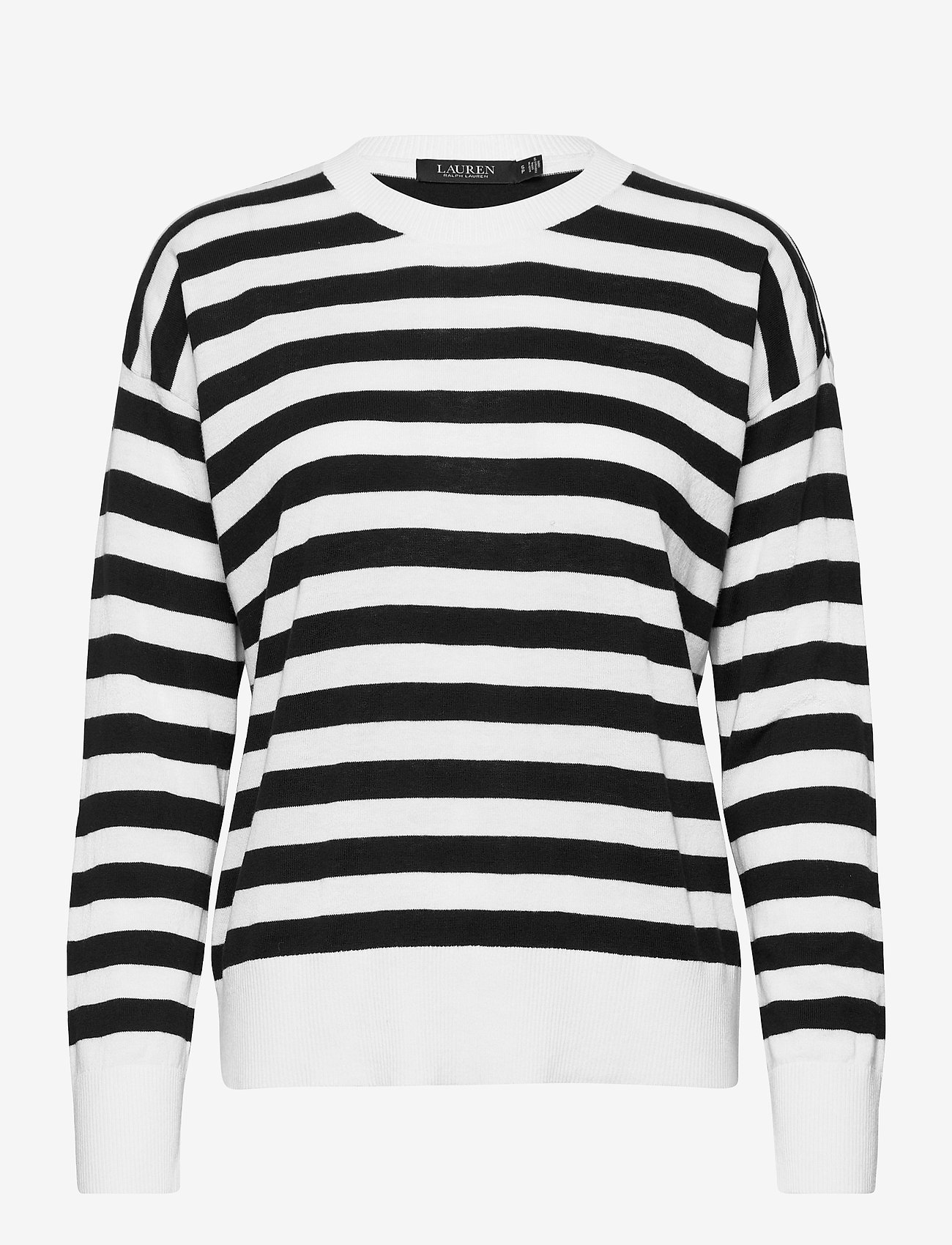 Lauren Ralph Lauren - Striped Cotton-Modal Sweater - trøjer - white/polo black - 1