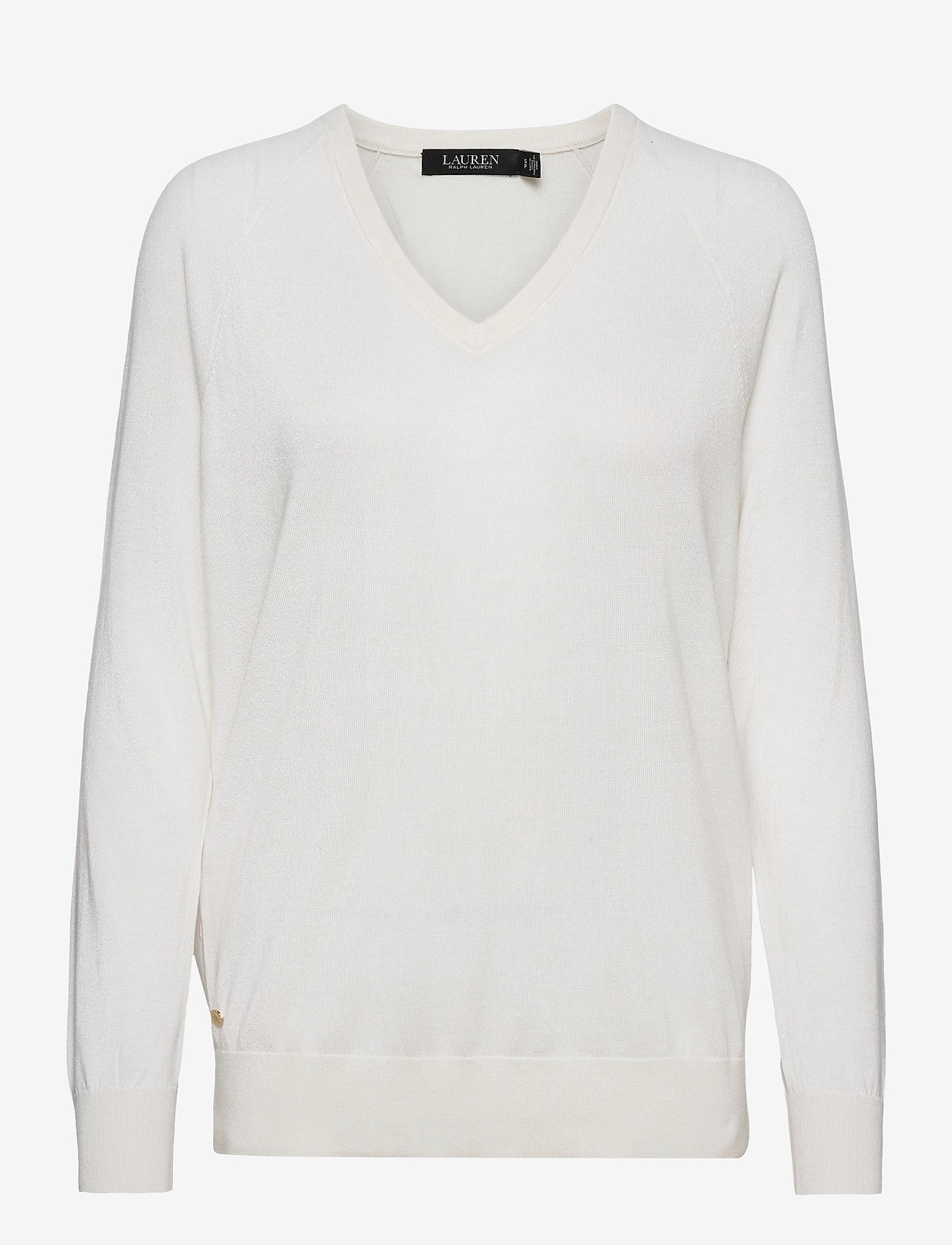 Lauren Ralph Lauren - Modal-Silk V-Neck Sweater - trøjer - white - 1