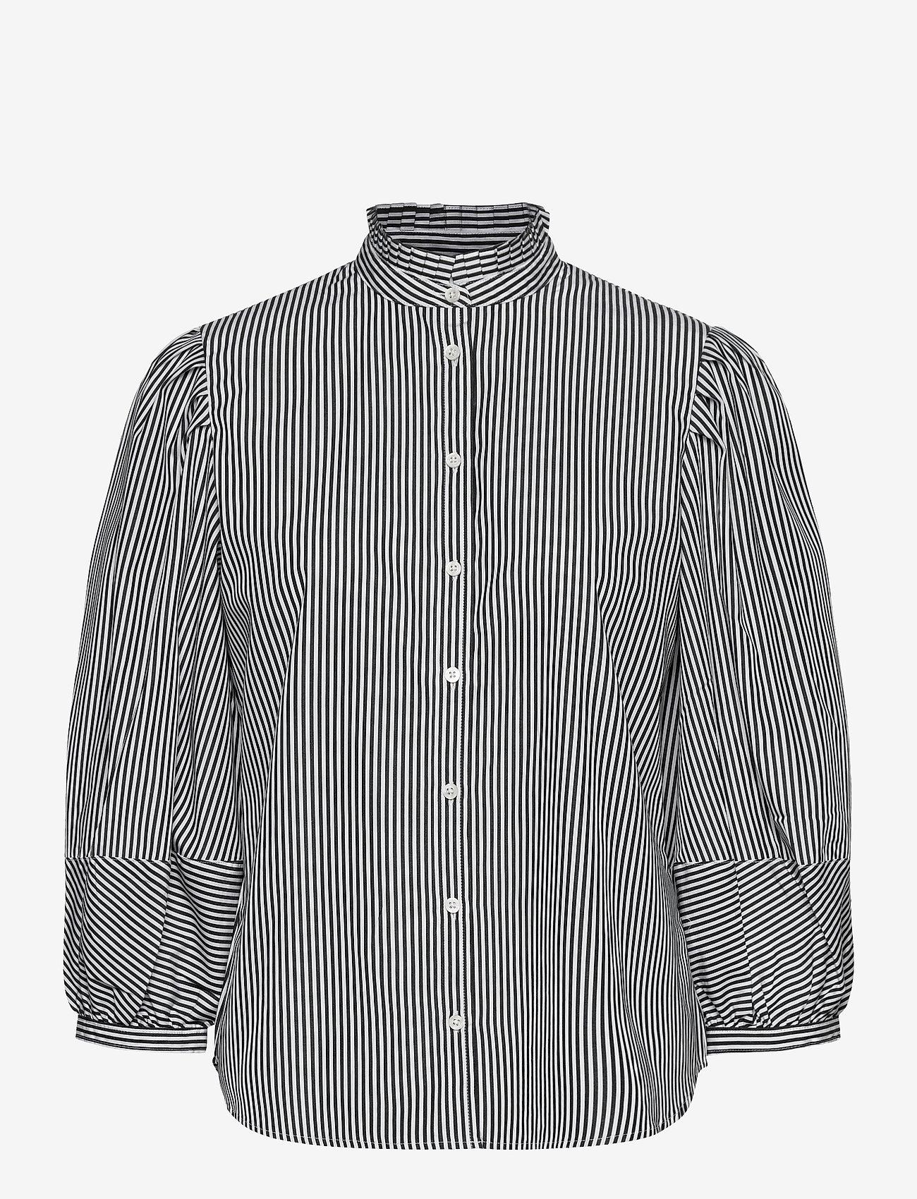 Lauren Ralph Lauren - Striped Bishop-Sleeve Cotton Shirt - langærmede bluser - black/white - 1