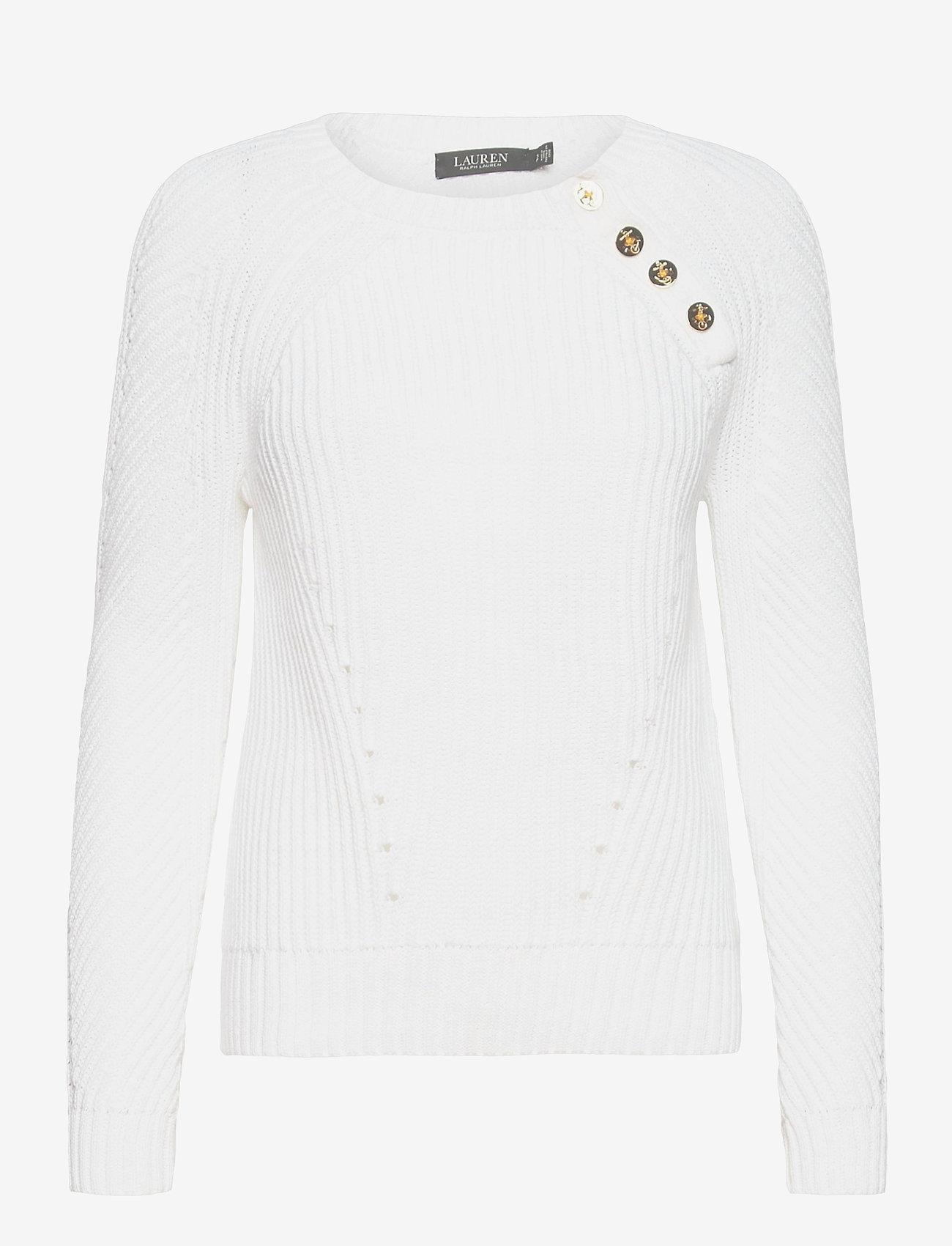 Lauren Ralph Lauren - Button-Trim Cotton Sweater - trøjer - white - 1