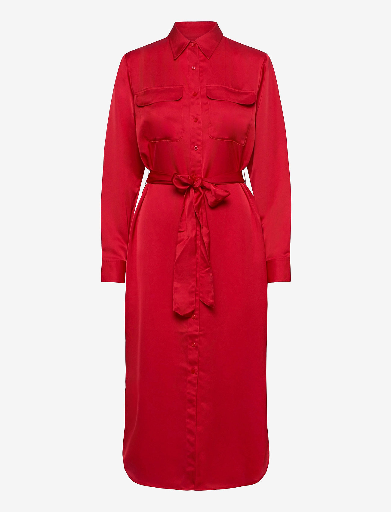 Lauren Ralph Lauren - Sateen Button-Down Shirtdress - skjortekjoler - lipstick red - 1
