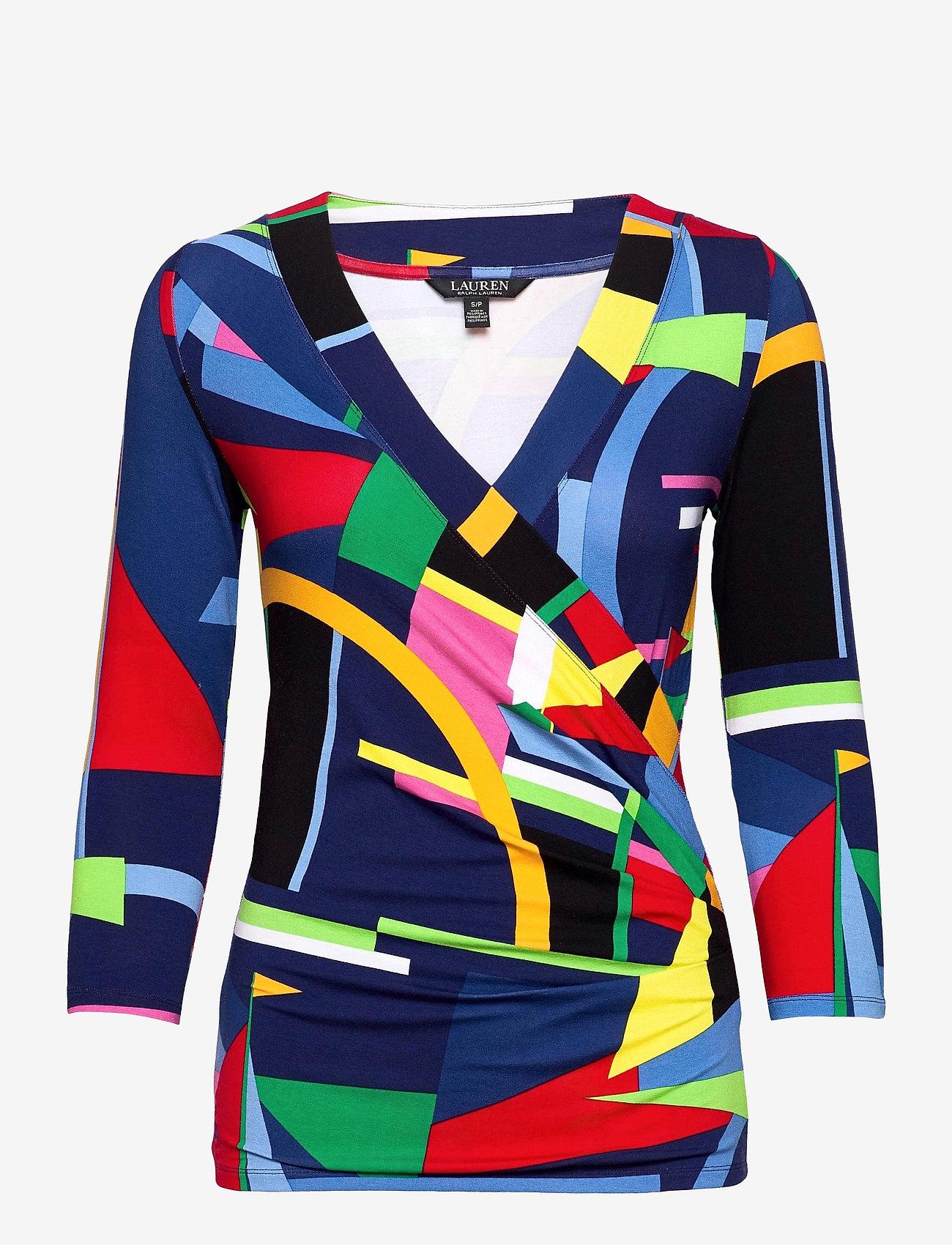 Lauren Ralph Lauren - Wrap-Style Jersey Top - blouses à manches longues - blue multi - 1