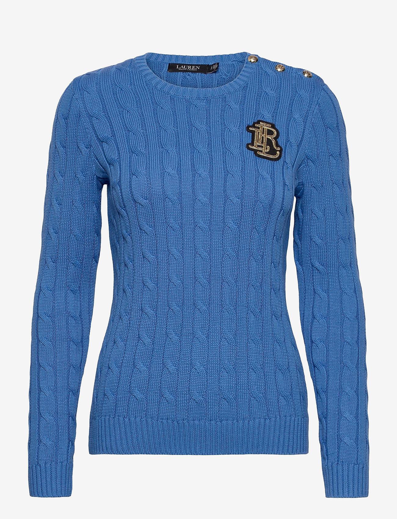 Lauren Ralph Lauren - Button-Trim Cable-Knit Sweater - trøjer - captain blue - 1