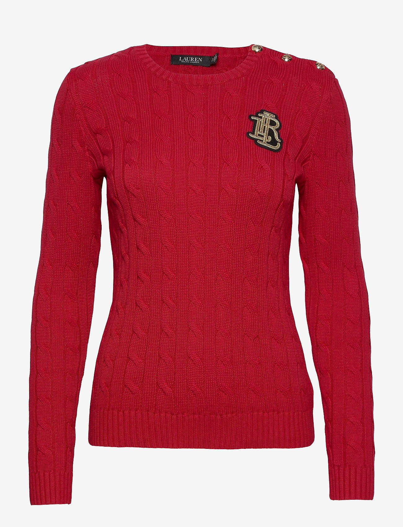 Lauren Ralph Lauren - Button-Trim Cable-Knit Sweater - trøjer - lipstick red - 1