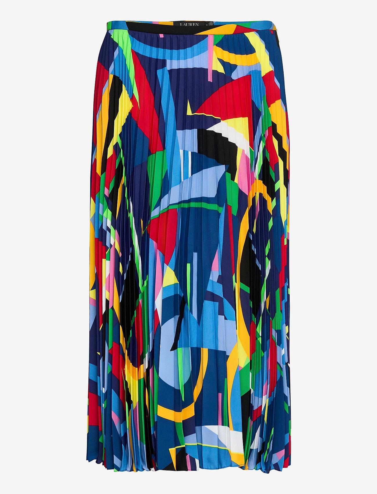 Lauren Ralph Lauren - Print Pleated Crepe Skirt - midinederdele - polo black multi - 1