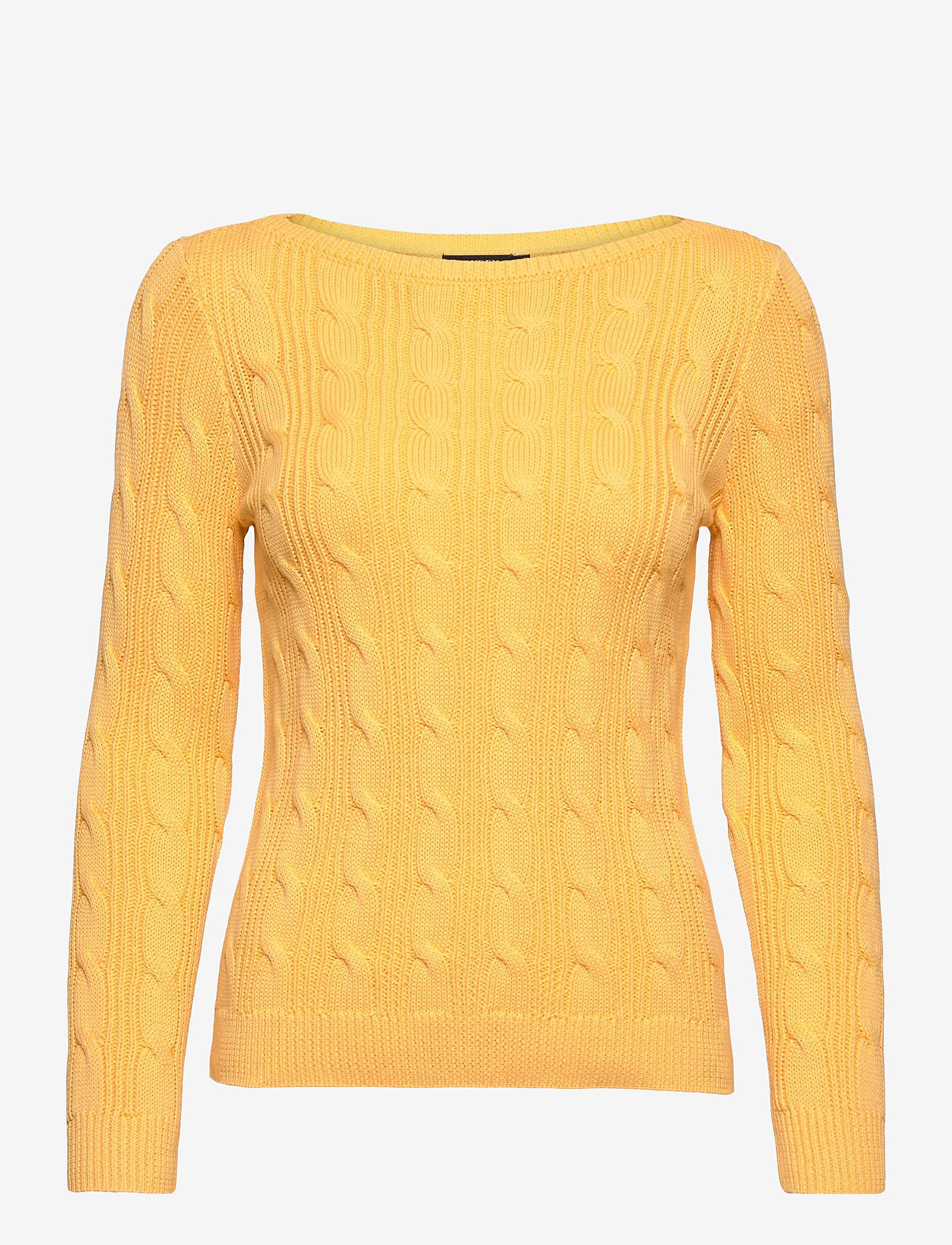 Lauren Ralph Lauren - Cable-Knit Boatneck Cotton Sweater - trøjer - beach yellow - 1