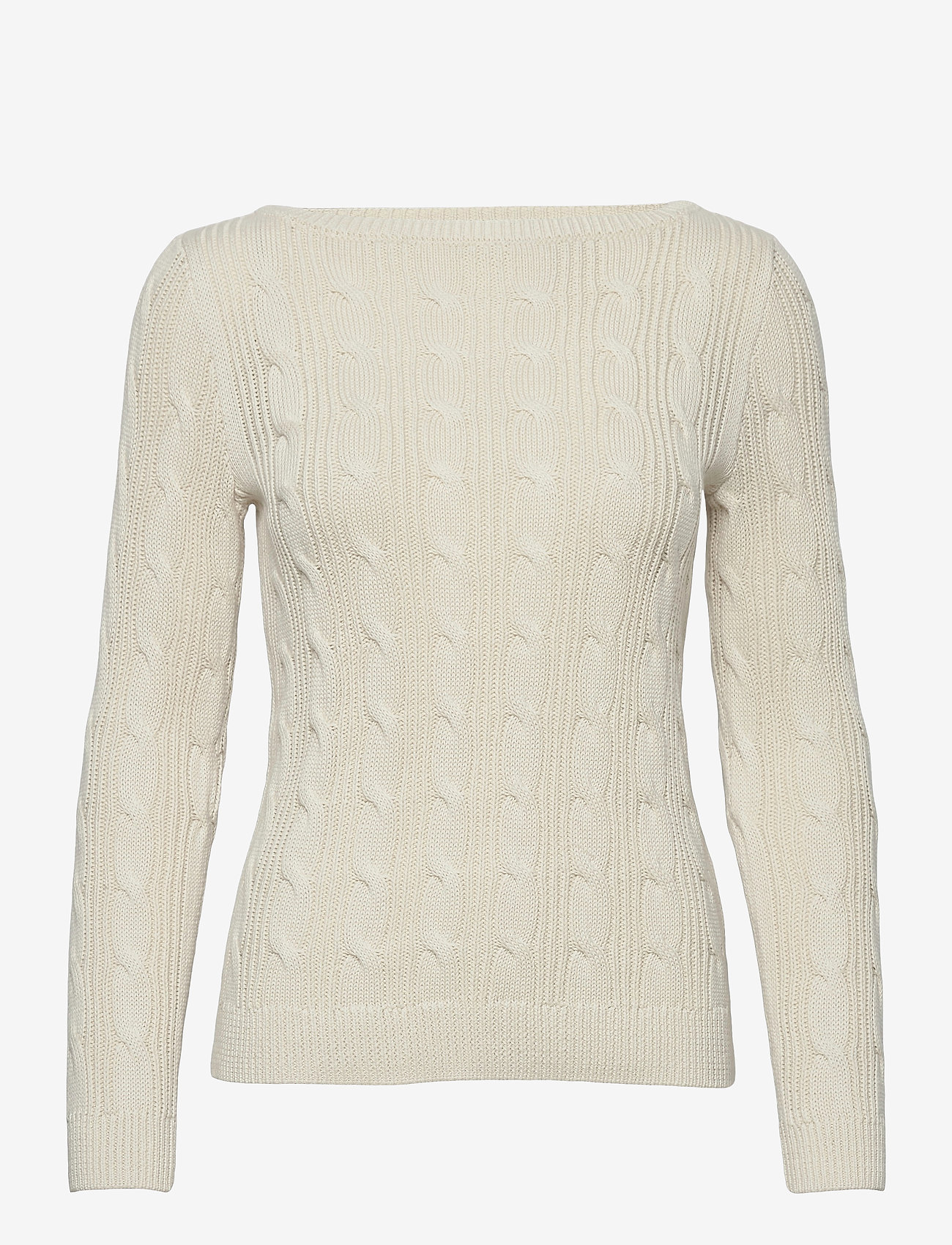 Lauren Ralph Lauren - Cable-Knit Boatneck Cotton Sweater - trøjer - mascarpone cream - 1