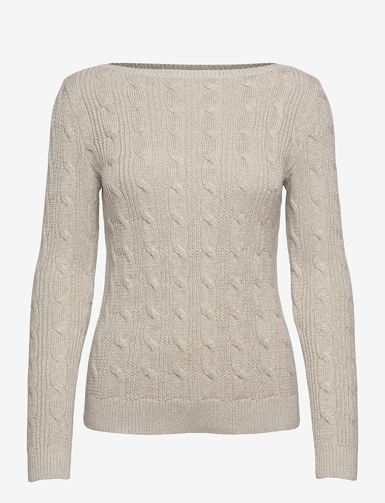 Lauren Ralph Lauren - Cable-Knit Boatneck Cotton Sweater - trøjer - silver - 0