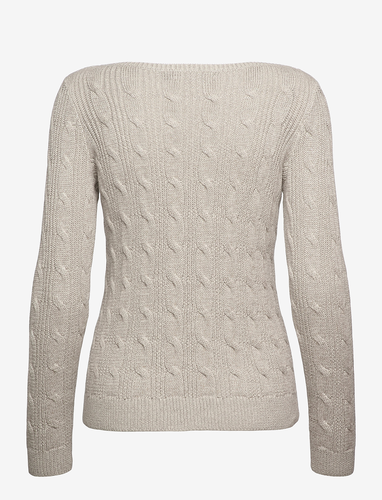 Lauren Ralph Lauren - Cable-Knit Boatneck Cotton Sweater - trøjer - silver - 1