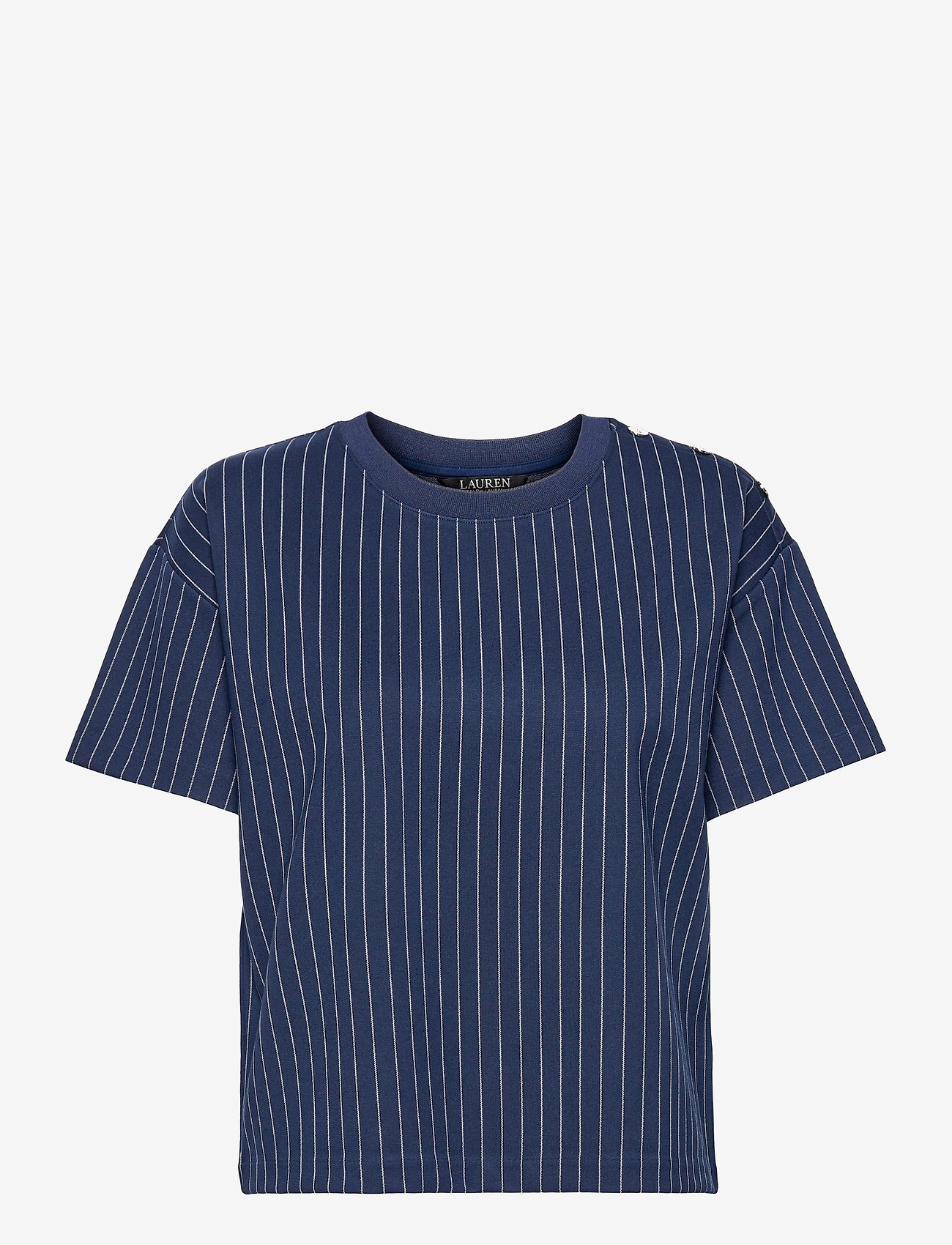 Lauren Ralph Lauren - Pinstripe Ponte Tee - t-shirts - french navy/pale - 1