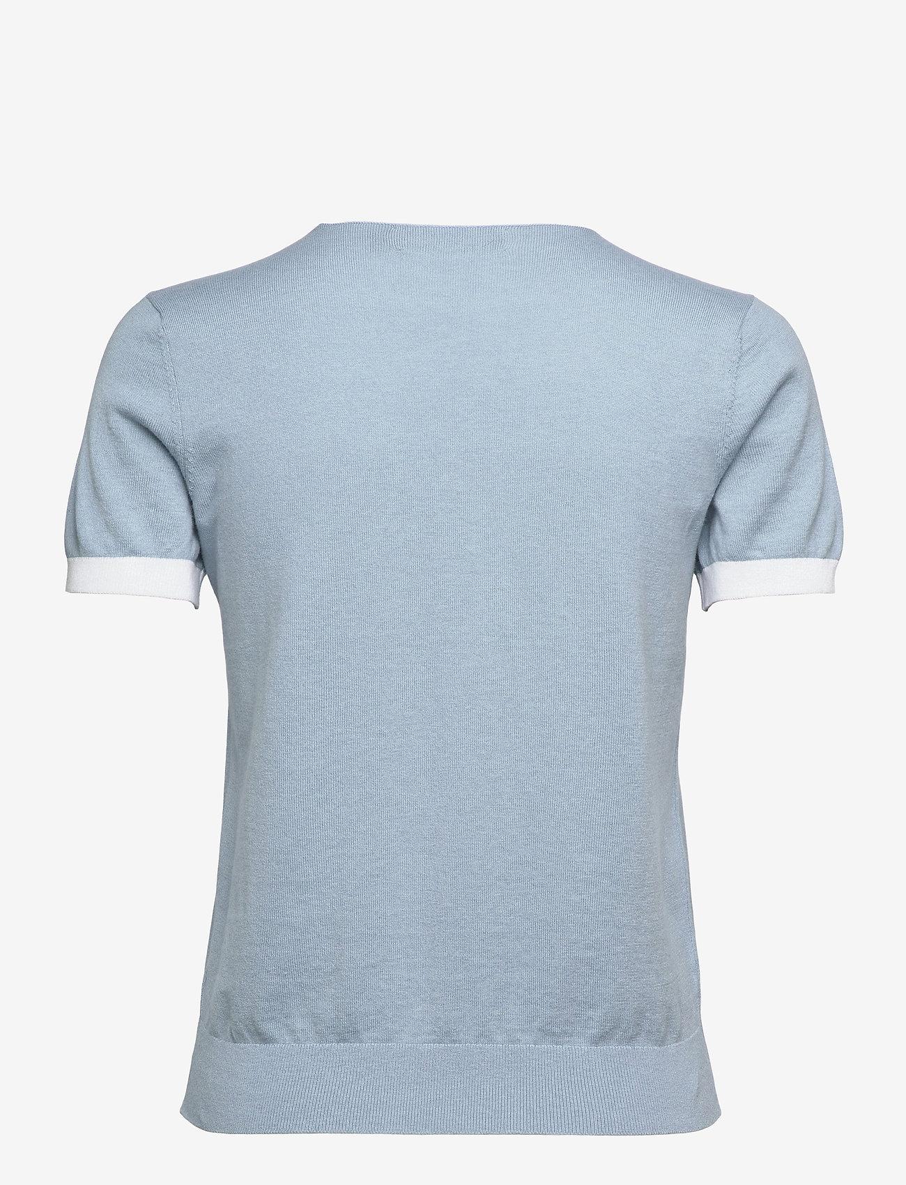 Lauren Ralph Lauren - Intarsia-Knit Cotton-Modal Sweater - strikkede toppe - dust blue/white - 1