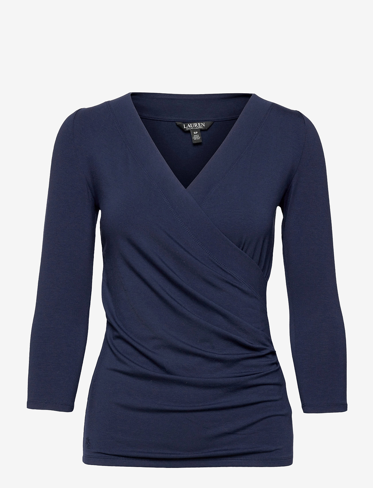 Lauren Ralph Lauren - Wrap-Style Jersey Top - langærmede toppe - french navy - 1