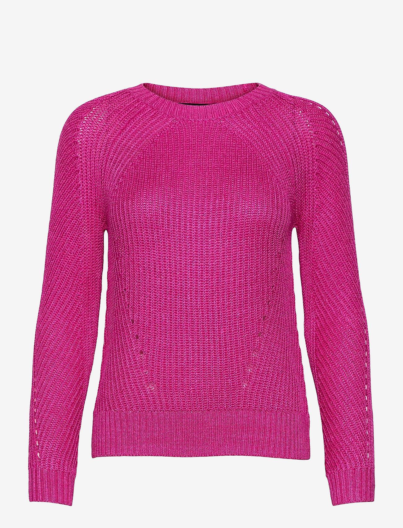 Lauren Ralph Lauren - Linen-Blend Crewneck Sweater - trøjer - nouveau bright pi - 0