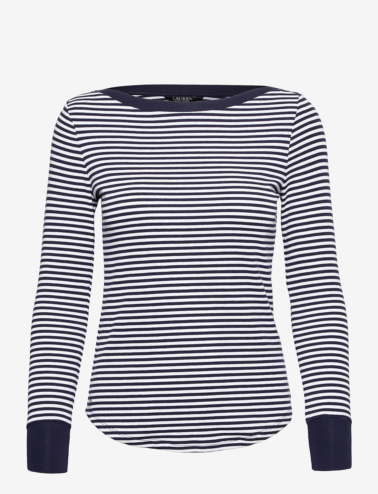Lauren Ralph Lauren - Striped Snap-Trim Drop-Needle Top - langærmede toppe - french navy/white - 1