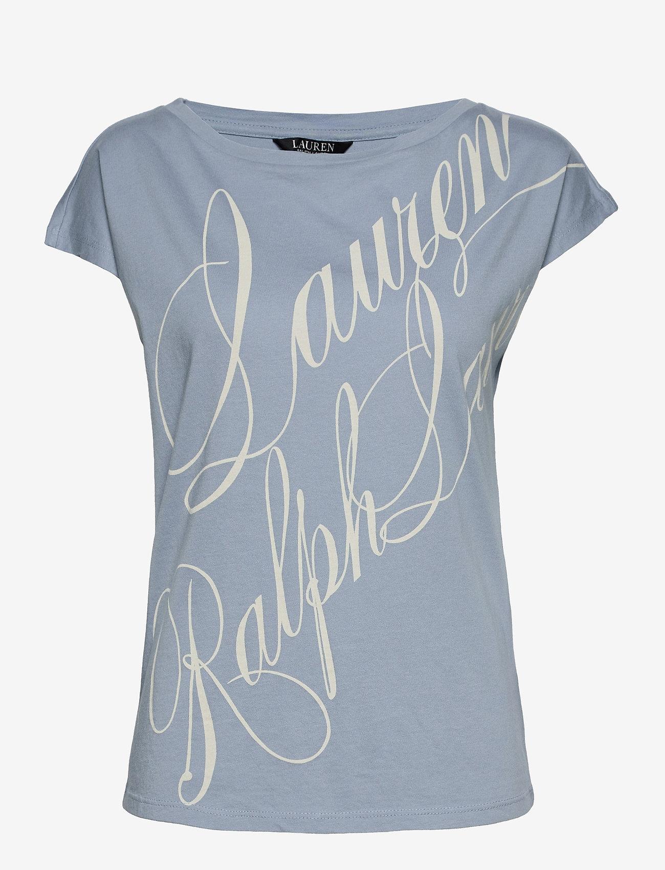 Lauren Ralph Lauren - Logo Boatneck Tee - t-shirts - dust blue - 0