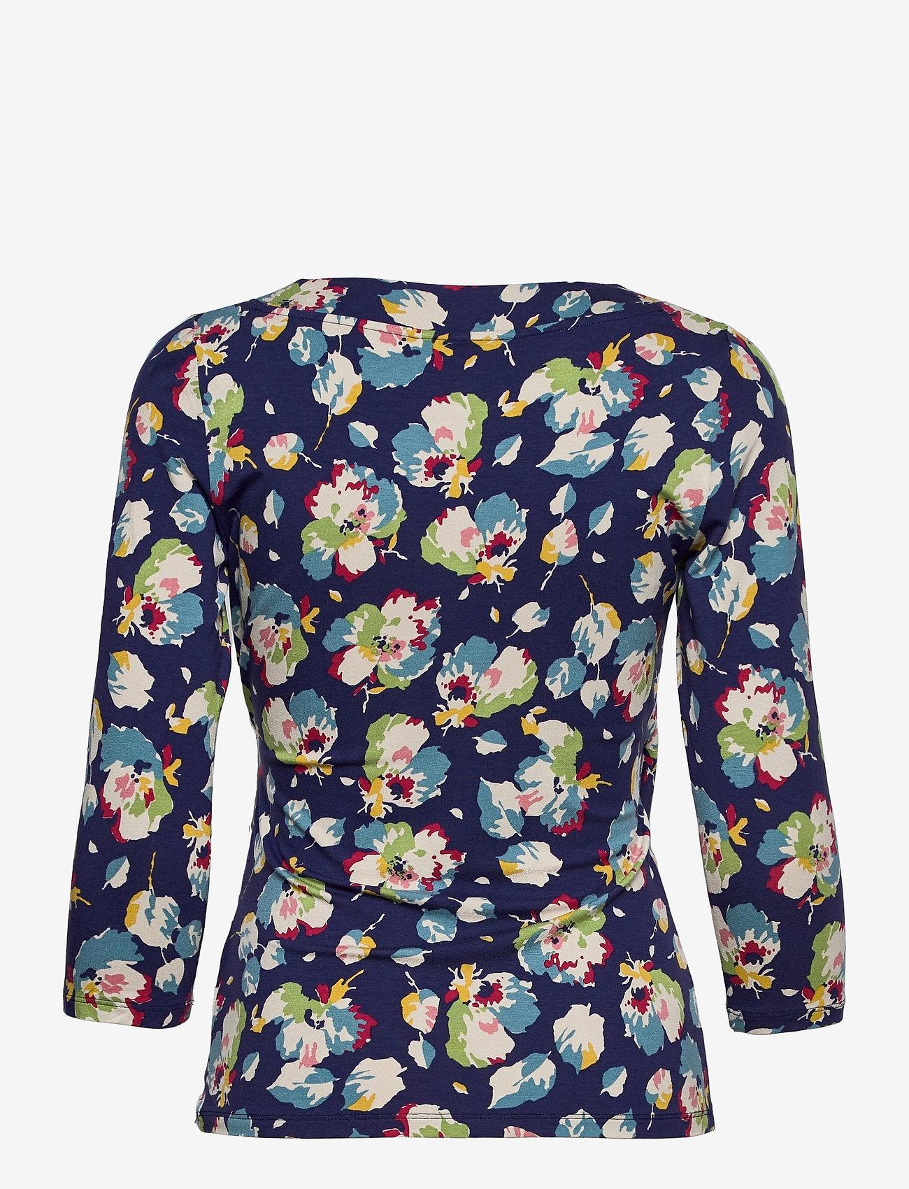 Lauren Ralph Lauren - Wrap-Style Jersey Top - langærmede bluser - royal navy multi - 1