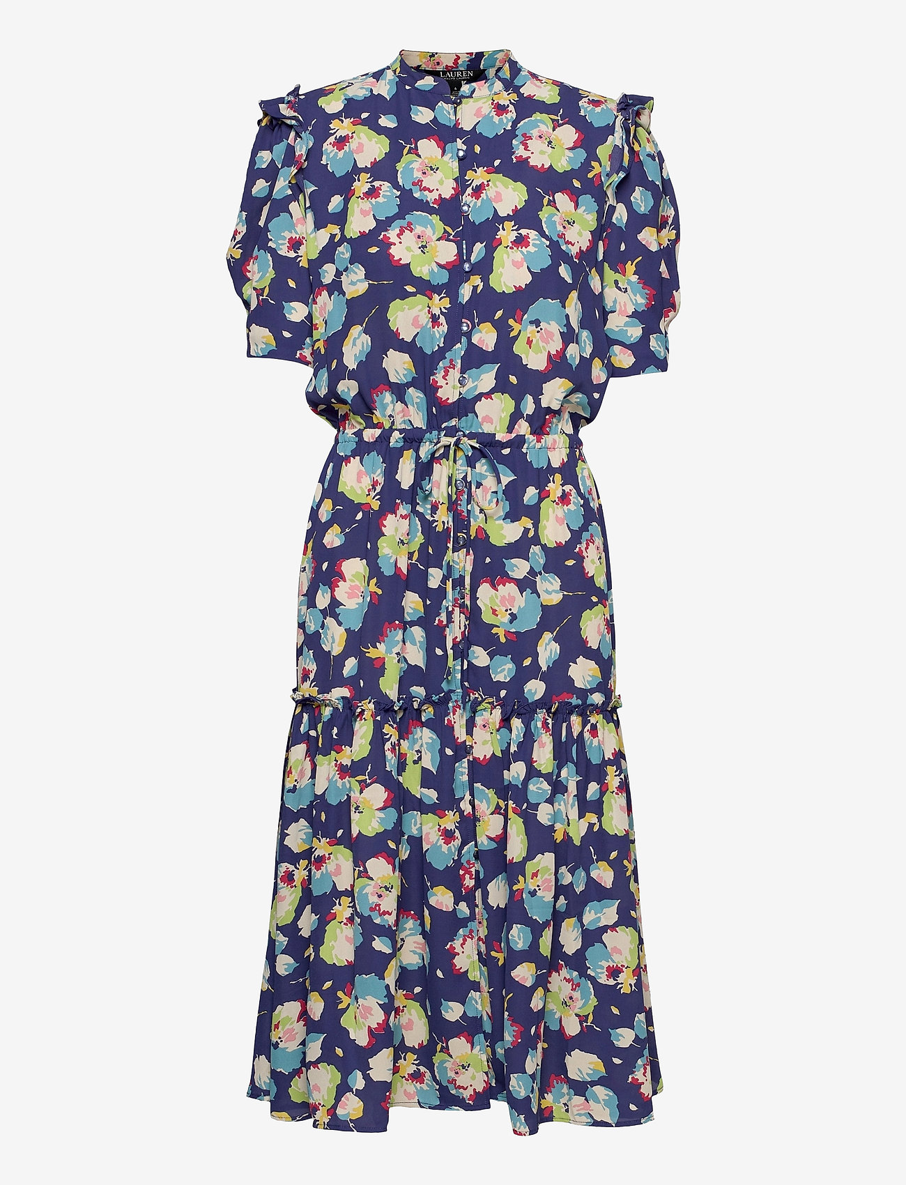 Lauren Ralph Lauren - Floral Elbow-Sleeve Georgette Dress - sommerkjoler - blue multi - 0