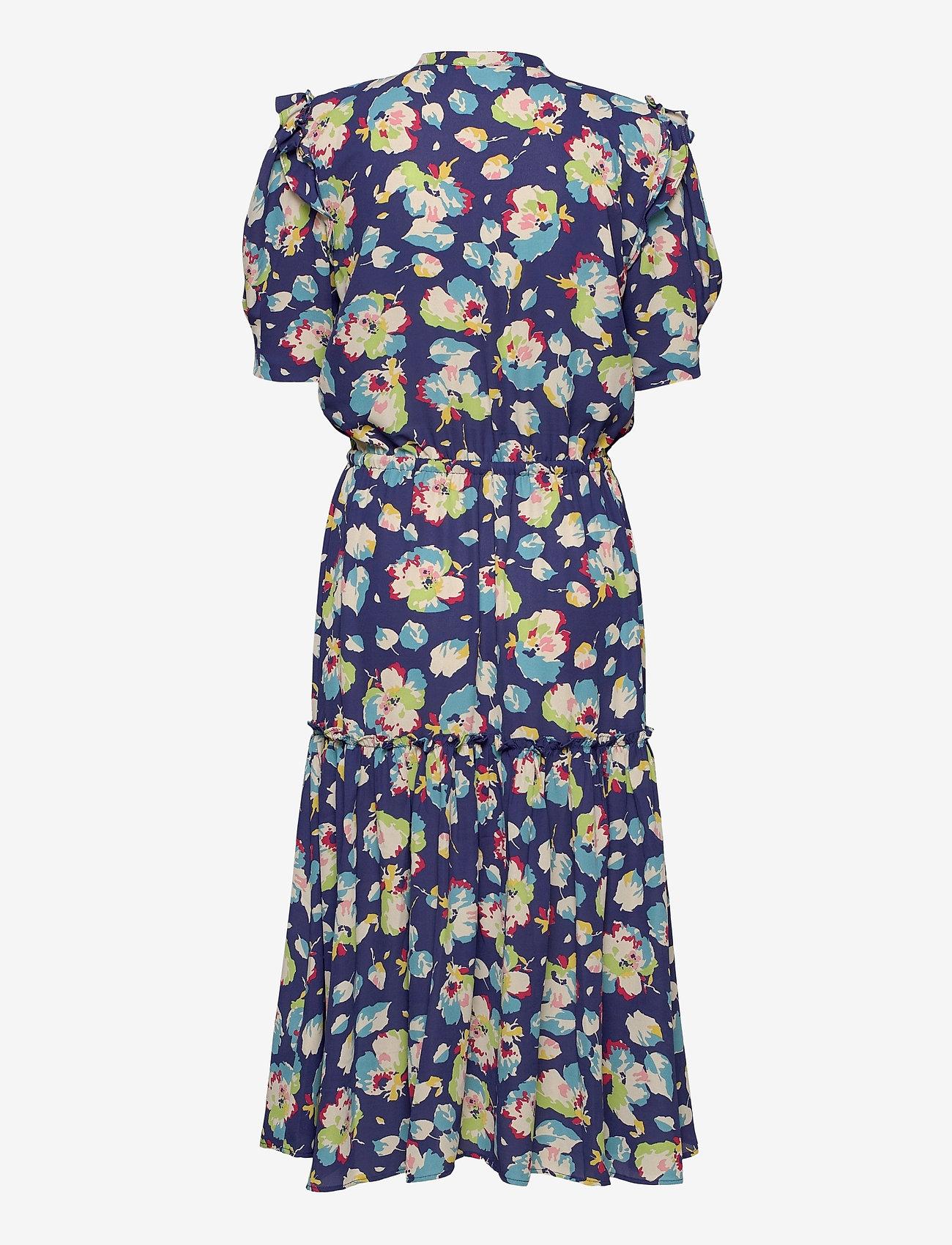 Lauren Ralph Lauren - Floral Elbow-Sleeve Georgette Dress - sommerkjoler - blue multi - 1