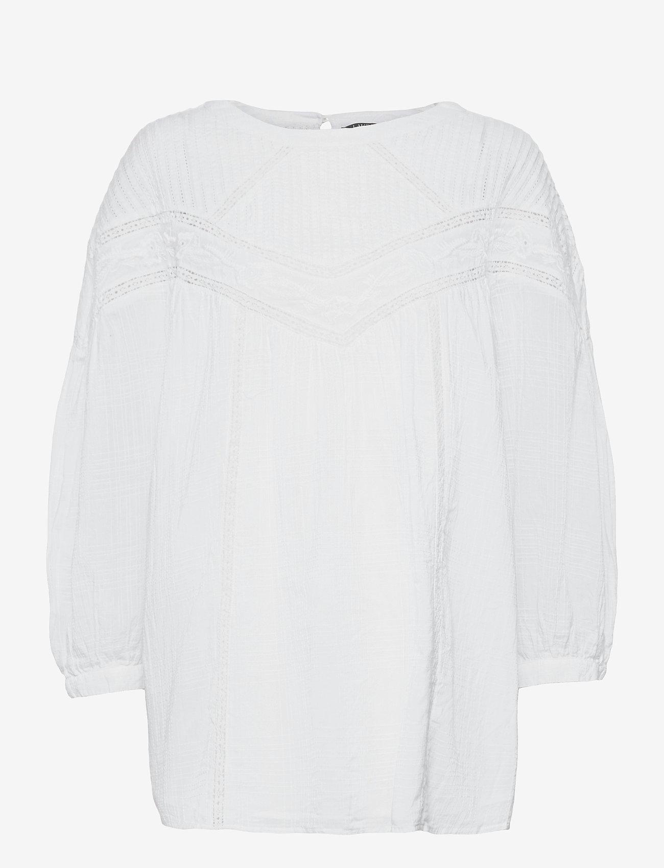 Lauren Ralph Lauren - Cotton Voile Blouse - langærmede bluser - white - 0