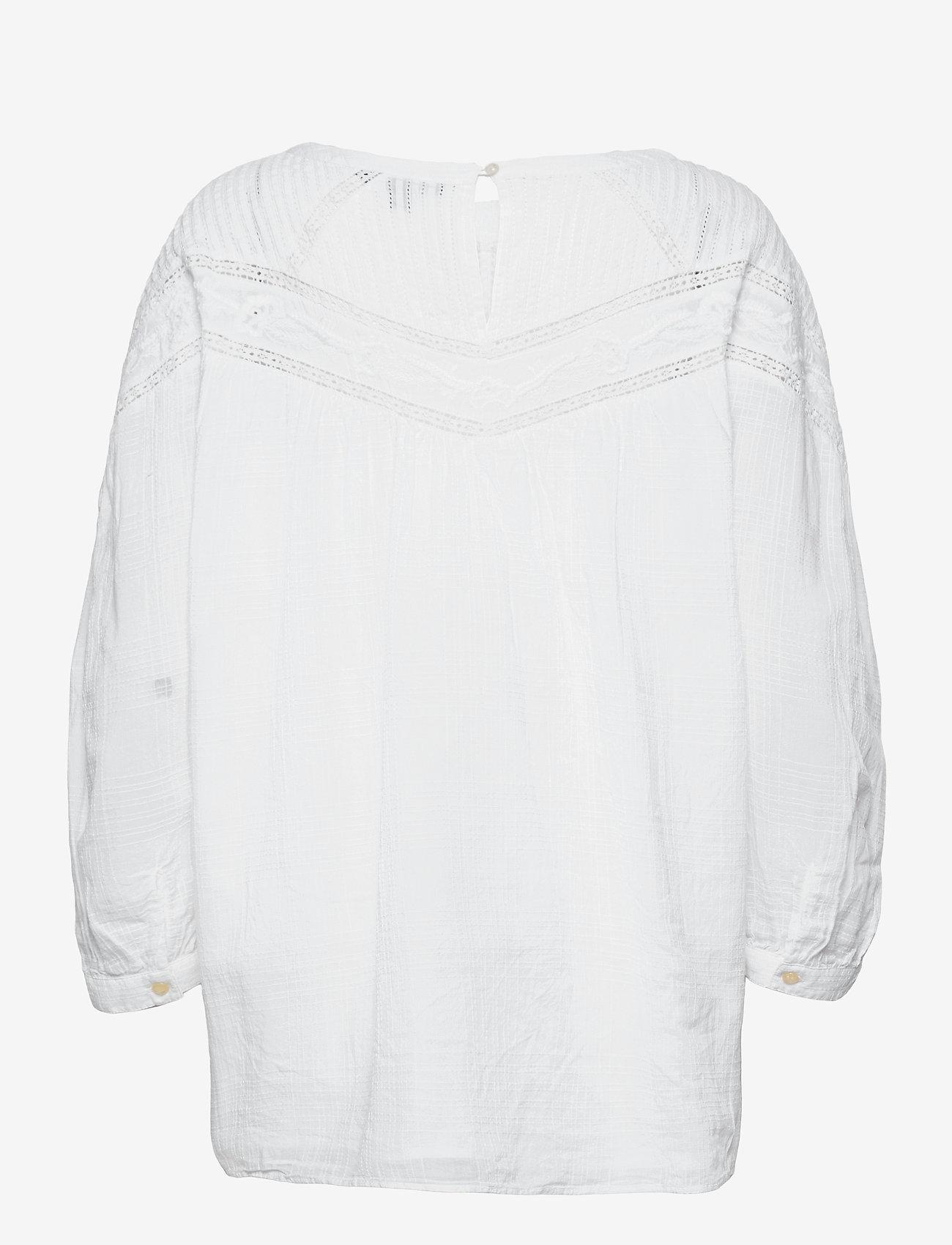 Lauren Ralph Lauren - Cotton Voile Blouse - langærmede bluser - white - 1