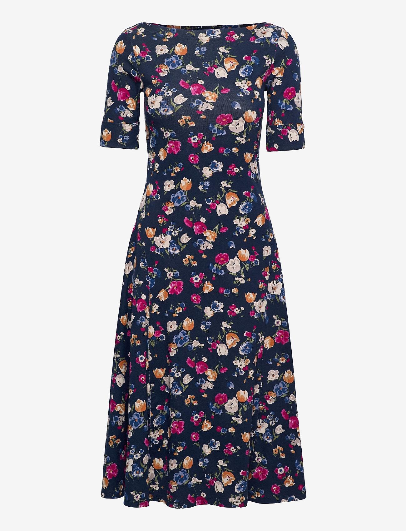 Lauren Ralph Lauren - Floral Stretch Cotton Midi Dress - sommerkjoler - french navy multi - 1