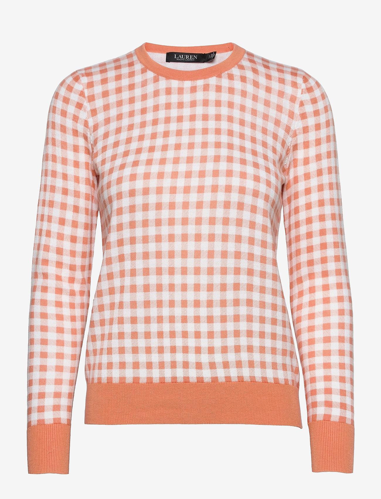 Lauren Ralph Lauren - Gingham Cotton-Modal Sweater - trøjer - shell coral/ whit - 0