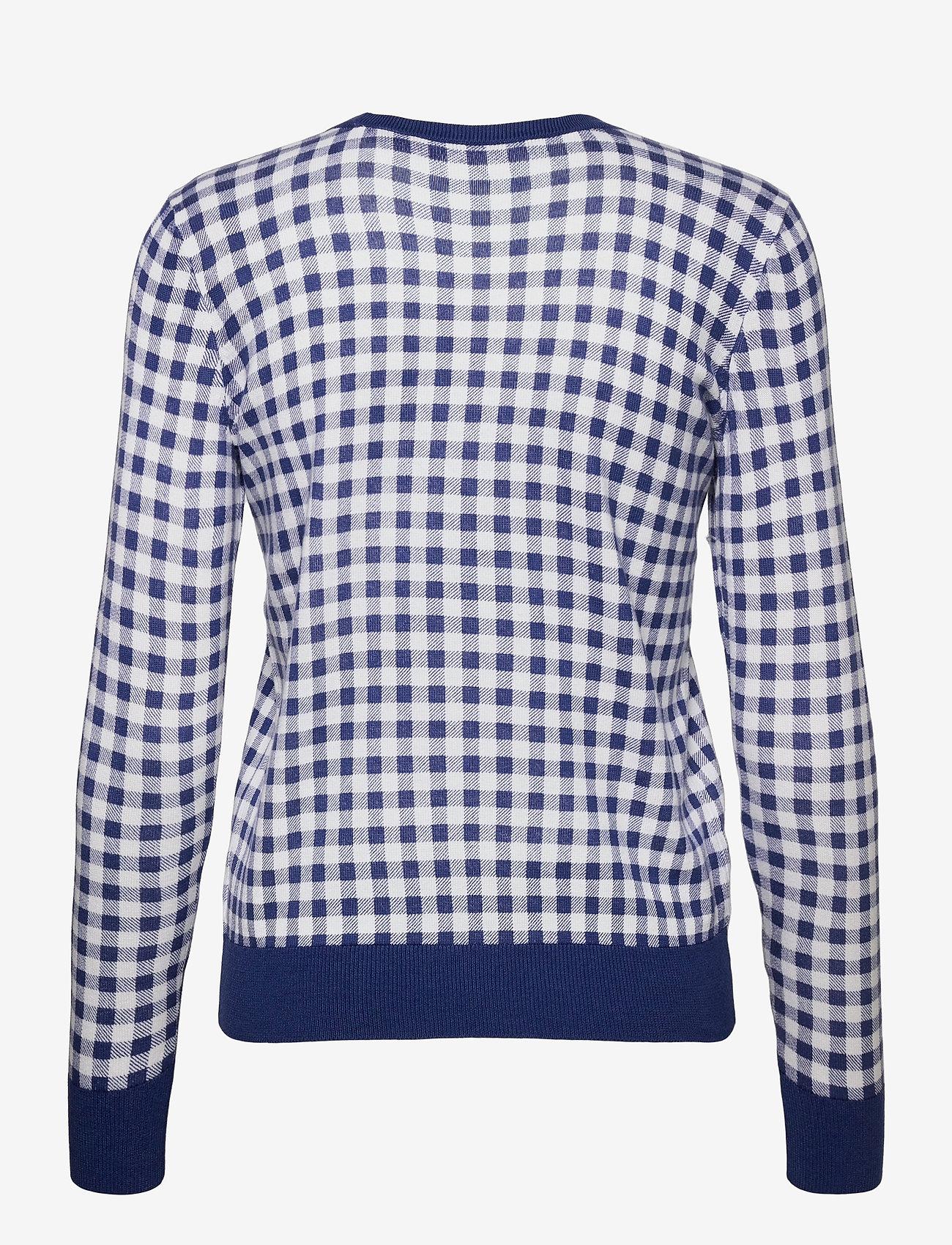 Lauren Ralph Lauren - Gingham Cotton-Modal Sweater - trøjer - soft sapphire/ wh - 1