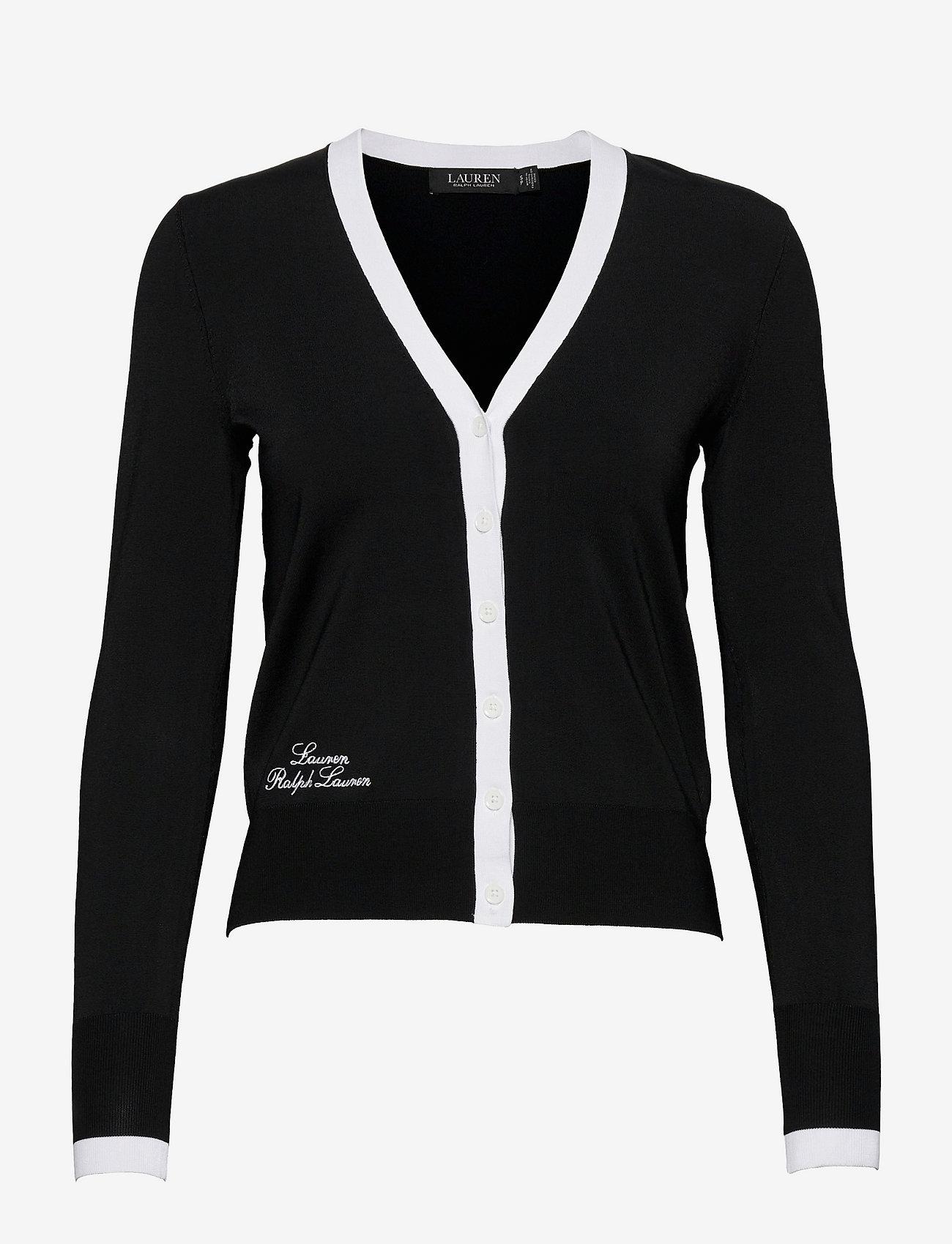Lauren Ralph Lauren - Color-Blocked Jersey Cardigan Sweater - cardigans - black/white - 0