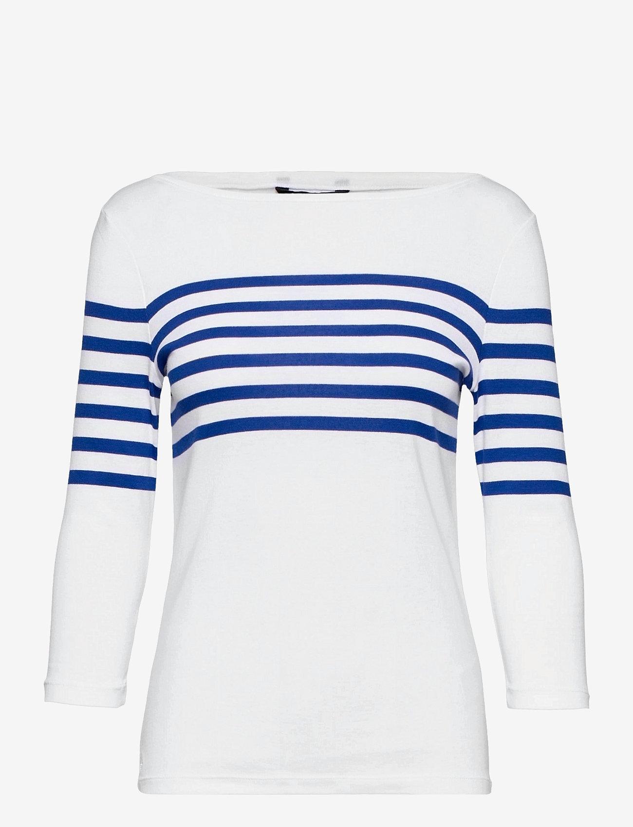 Lauren Ralph Lauren - Striped Cotton Boatneck Top - langærmede toppe - white/ sapphire s - 0