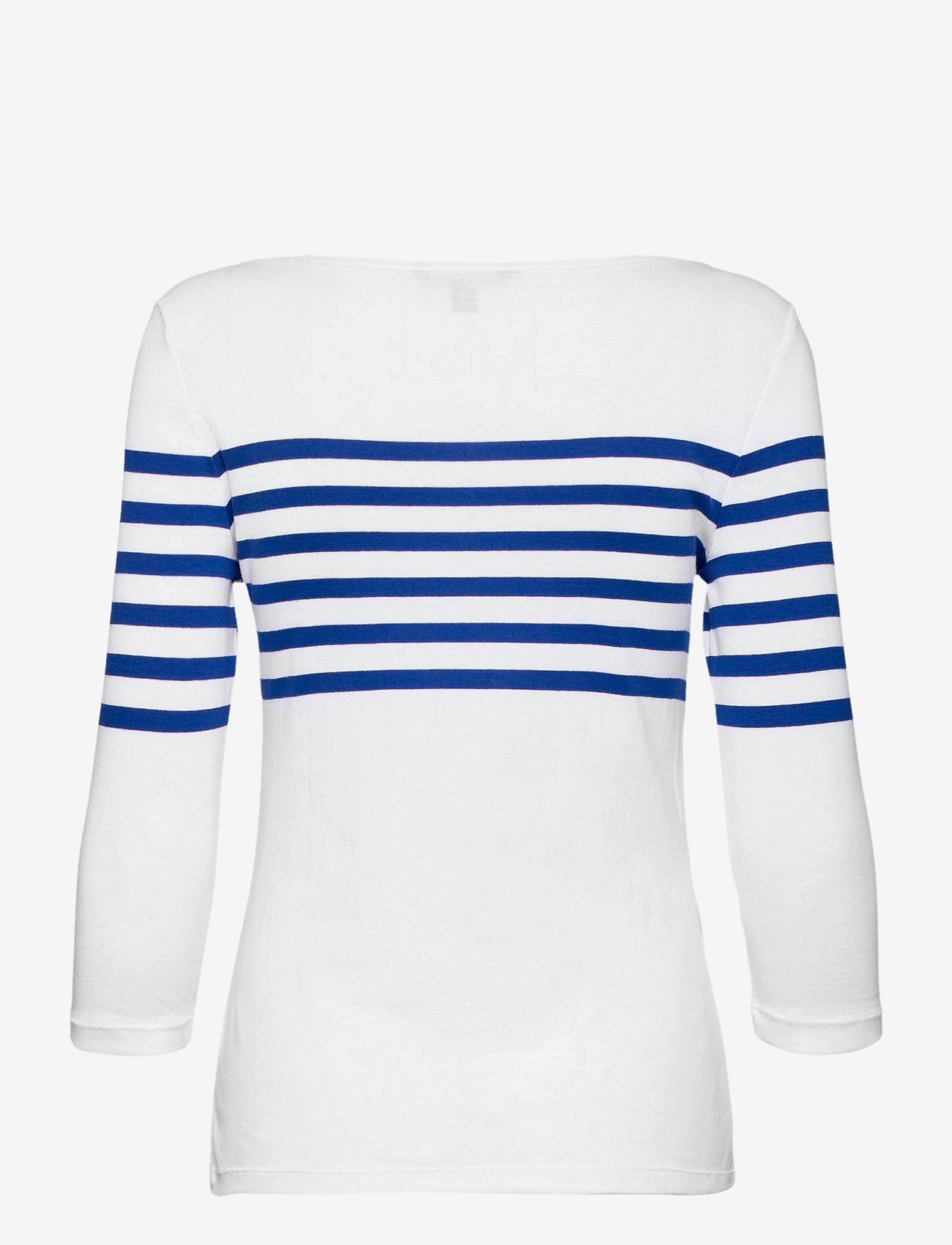 Lauren Ralph Lauren - Striped Cotton Boatneck Top - langærmede toppe - white/ sapphire s - 1