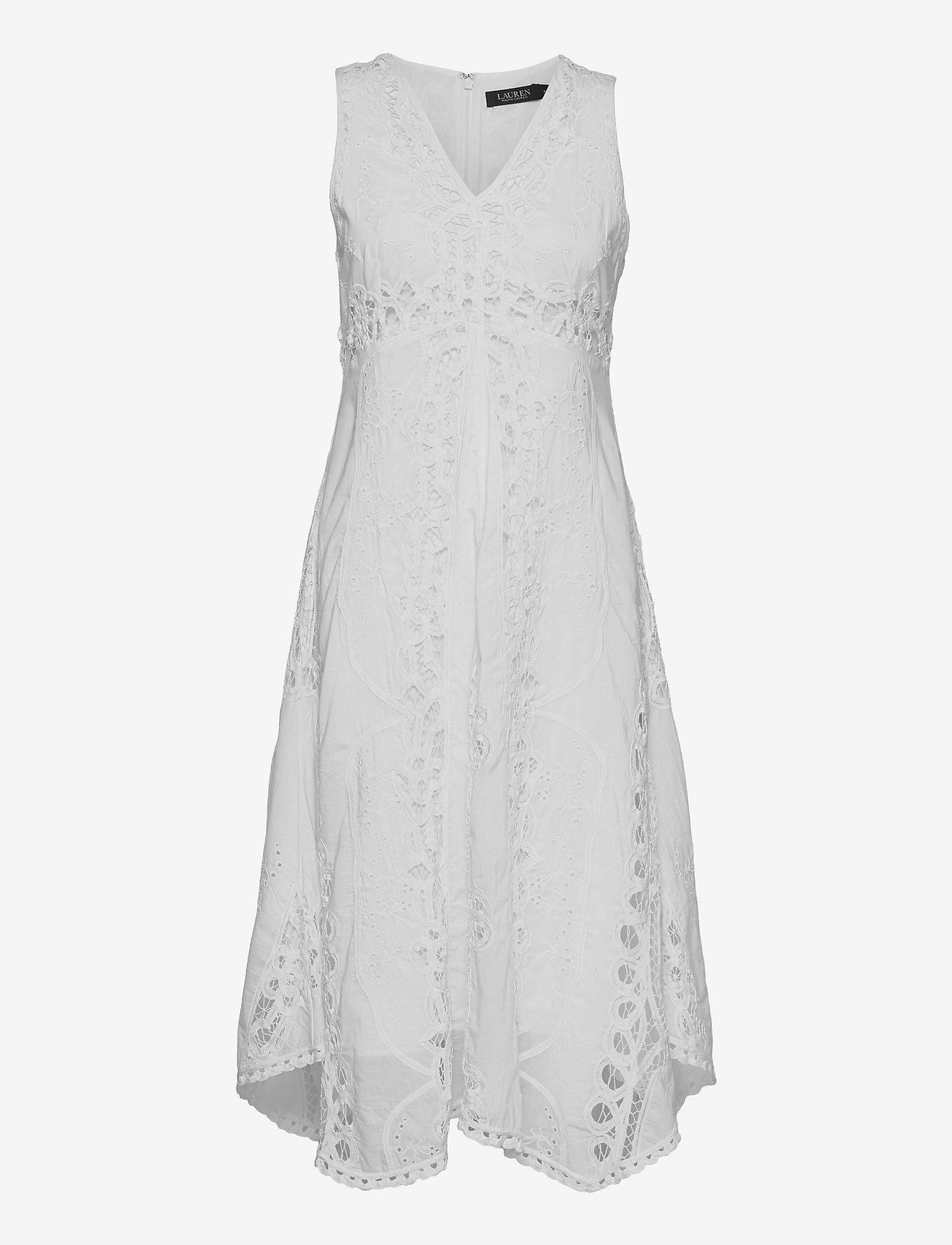 Lauren Ralph Lauren - Battenberg Lace Cotton Voile Dress - sommerkjoler - white - 0
