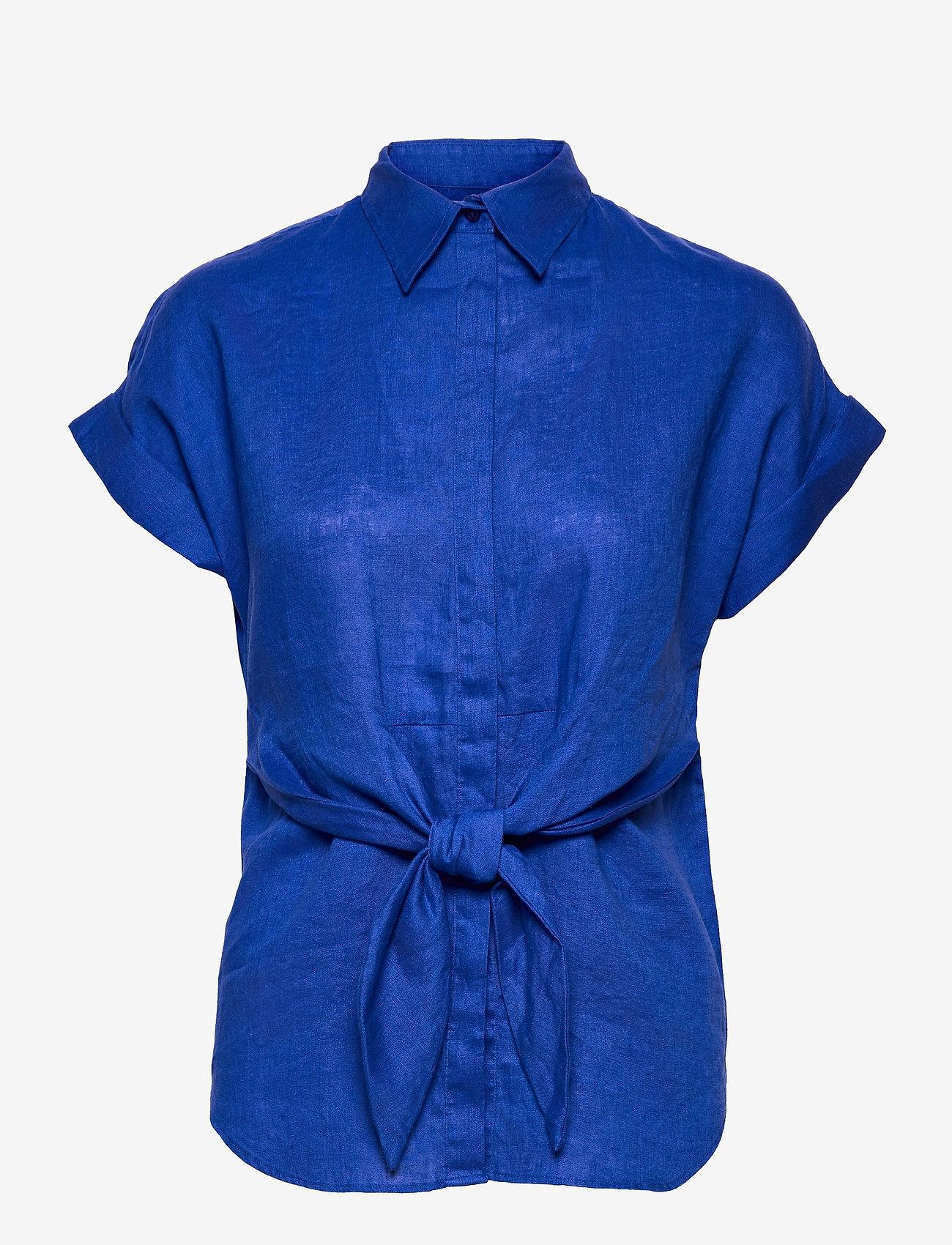 Lauren Ralph Lauren - Tie-Front Linen Shirt - kortærmede skjorter - sapphire star - 0