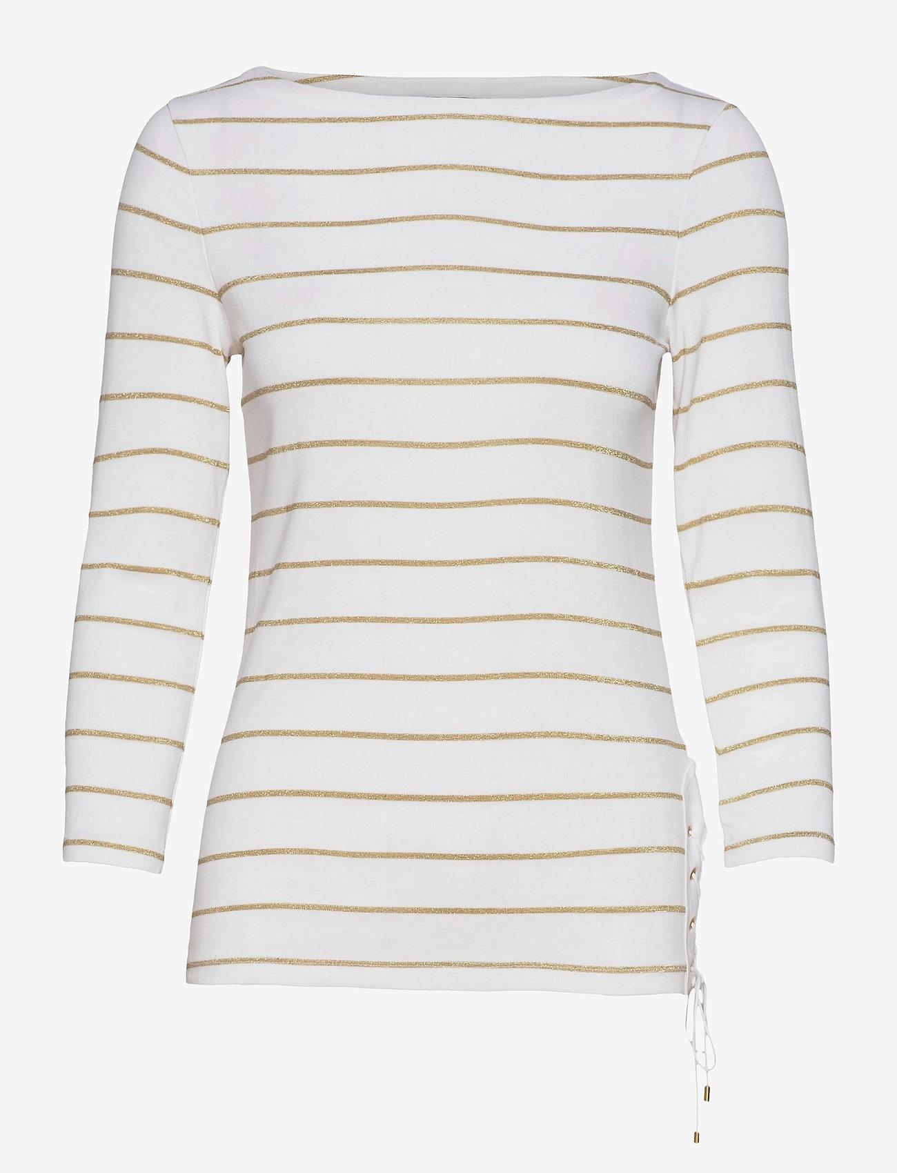 Lauren Ralph Lauren - Metallic Striped Cotton Boatneck Top - hauts à manches longues - white/gold metal - 1