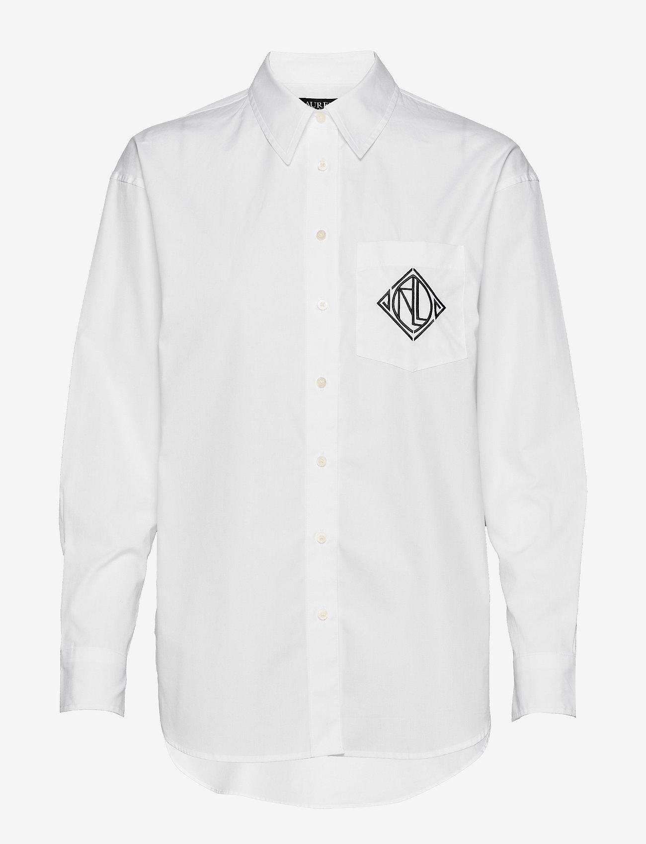 Lauren Ralph Lauren - Logo Cotton Broadcloth Shirt - langærmede skjorter - white - 0