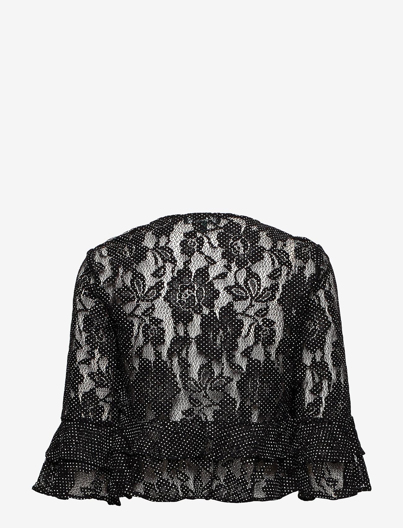 Lauren Ralph Lauren - Polka-Dot Lace Cropped Cardigan - neuletakit - black/white