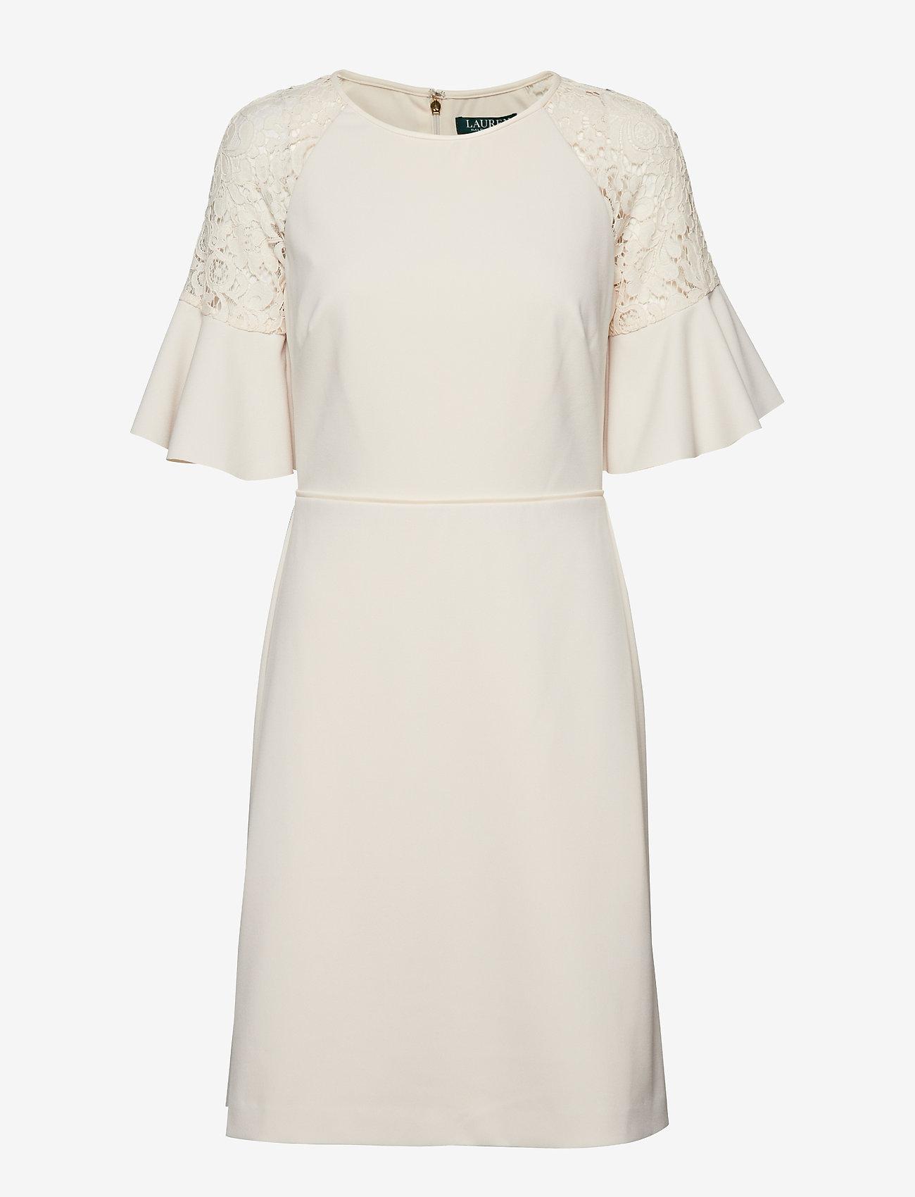 Lauren Ralph Lauren - Lace-Trim Crepe Dress - lyhyet mekot - cashew