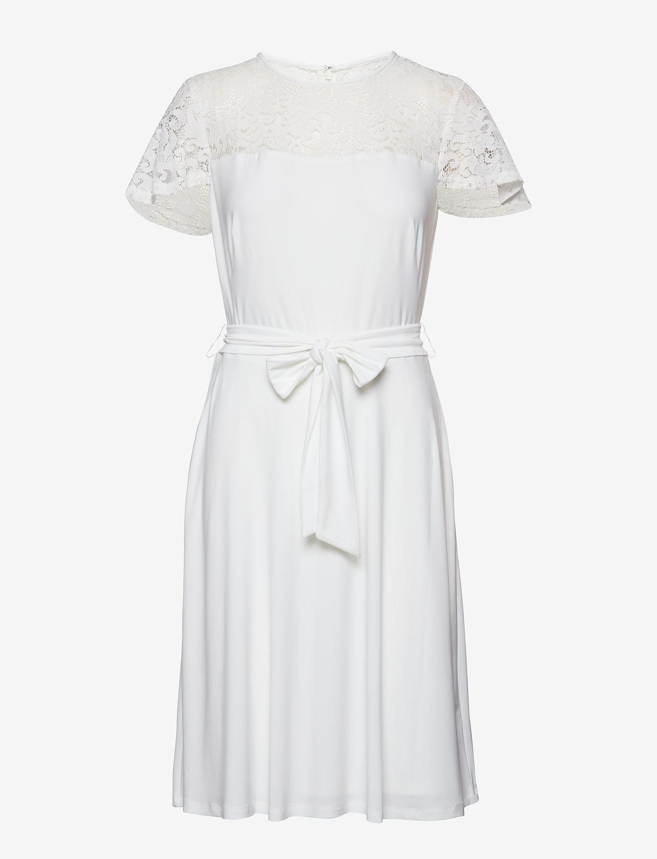 Lauren Ralph Lauren - Belted Lace-Trim Dress - midimekot - lauren white