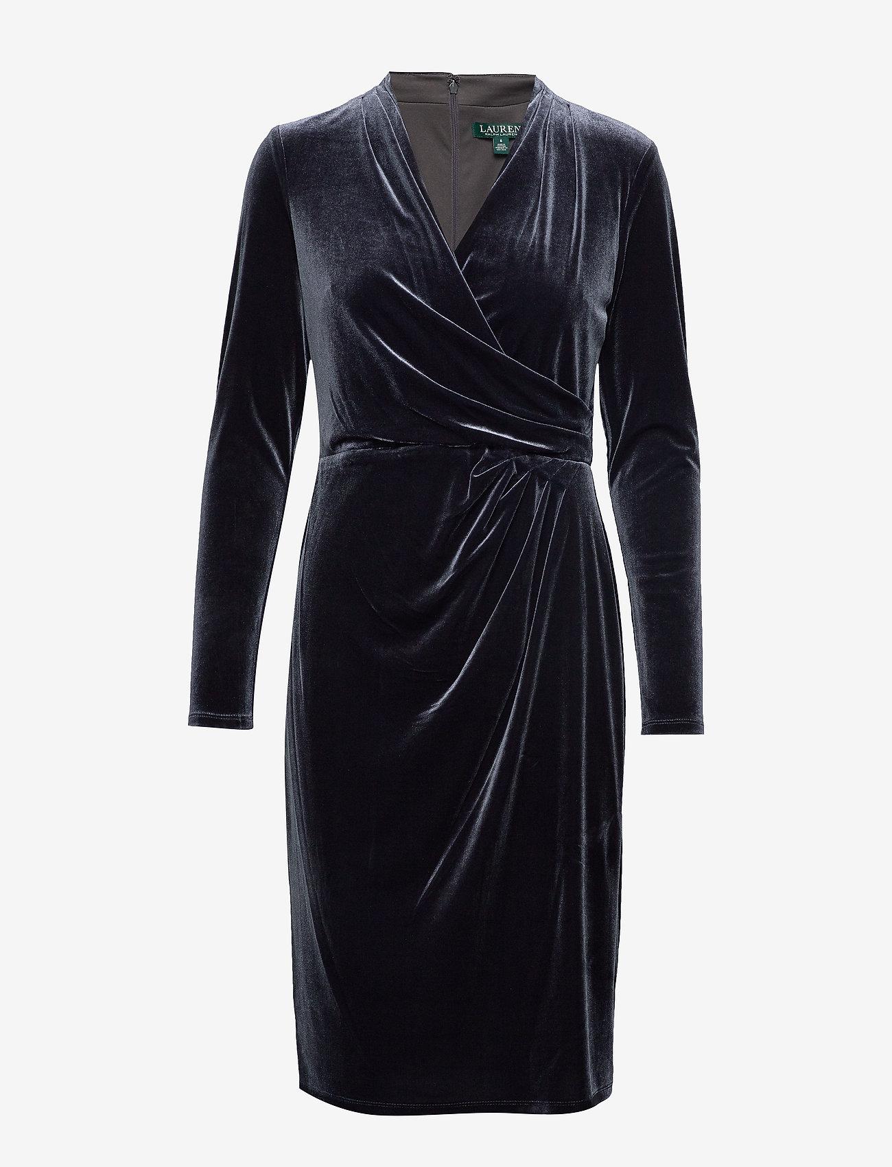Lauren Ralph Lauren - RADIANT STR VELVET-DRESS - wrap dresses - charcoal - 0