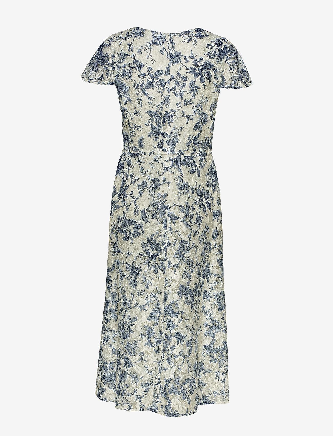 Floral Lace V-neck Dress (Col Cream/blue/mu) - Lauren Ralph Lauren 4y0LVk