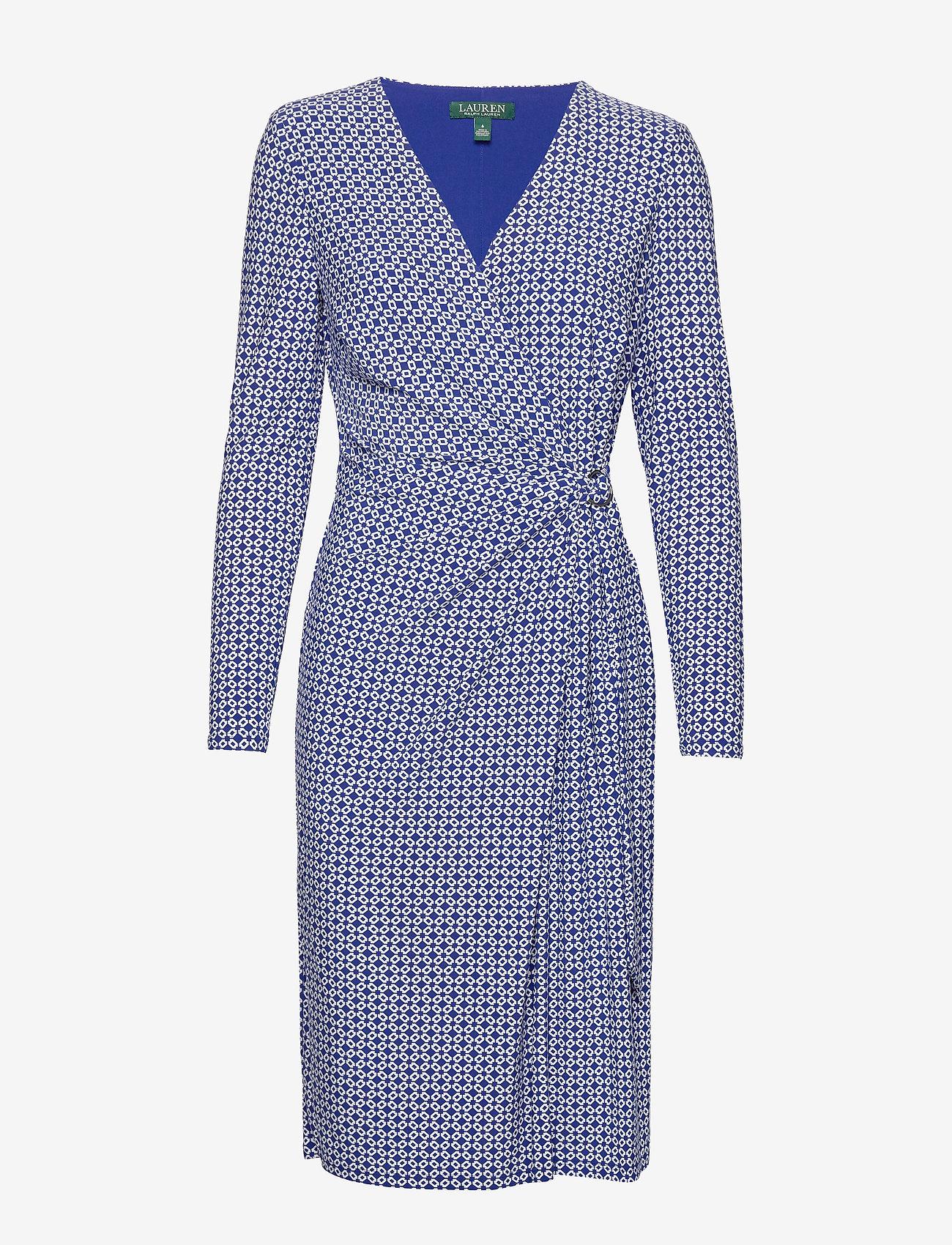 Lauren Ralph Lauren - Print Jersey Long-Sleeve Dress - wrap dresses - parisian blue/col - 0