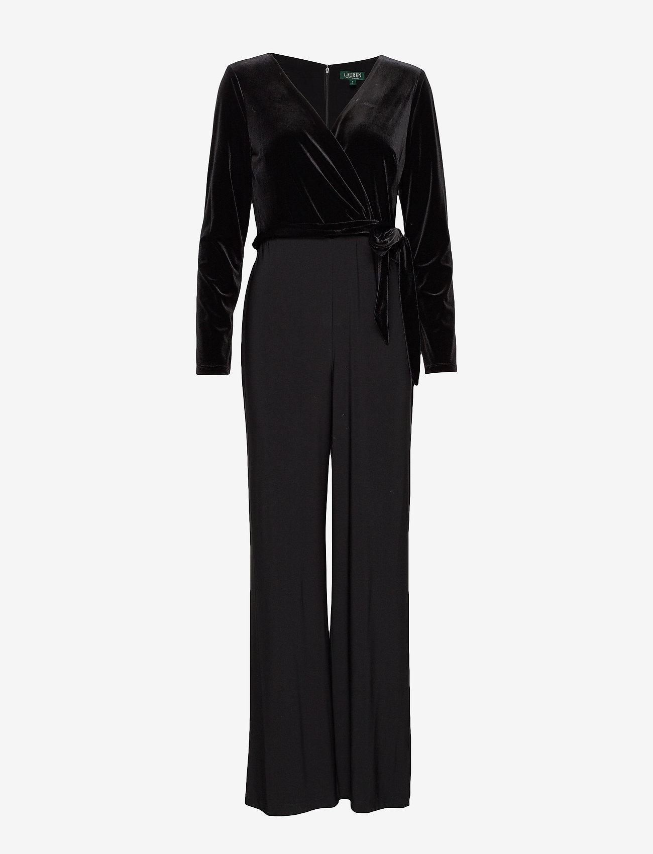 Lauren Ralph Lauren - Velvet-Bodice Jersey Jumpsuit - kombinezony - black - 0