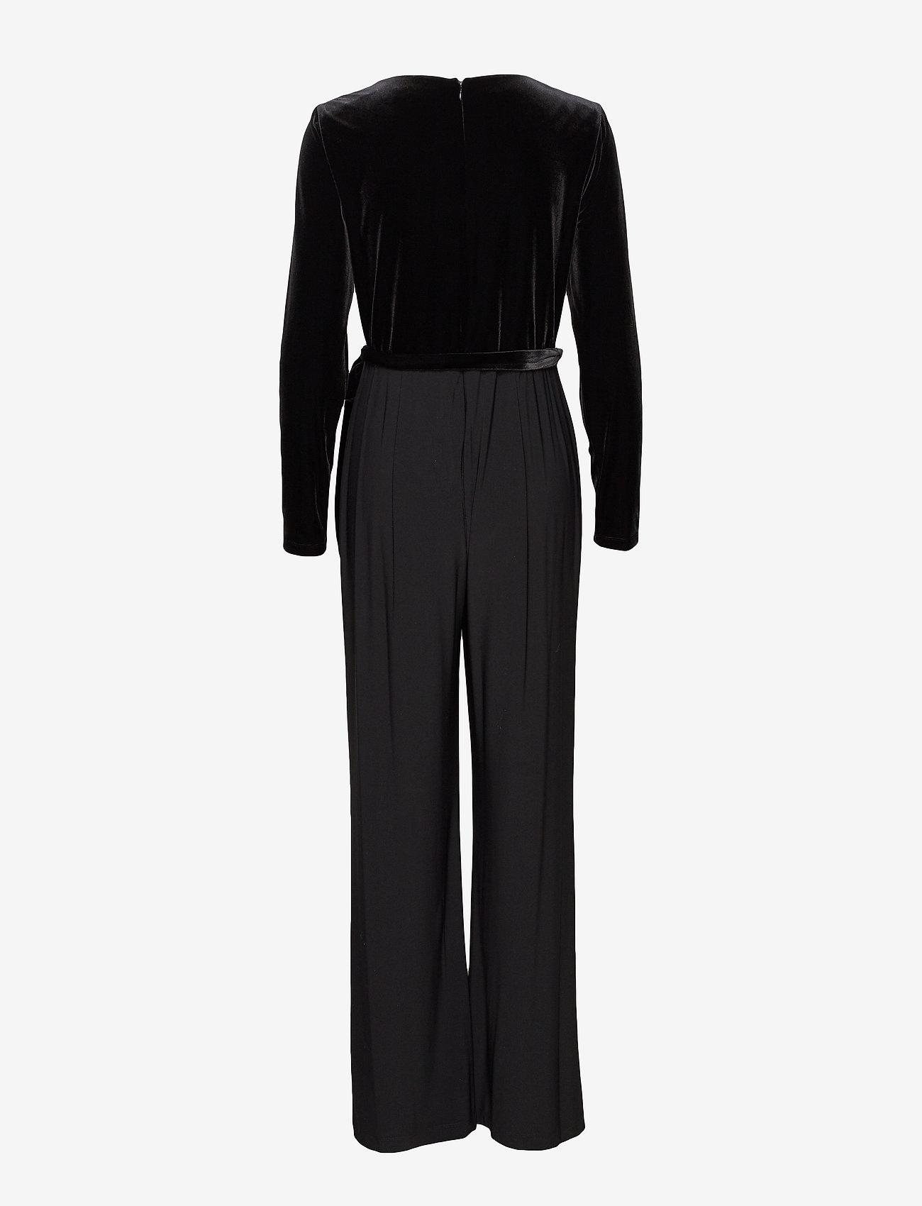 Lauren Ralph Lauren - Velvet-Bodice Jersey Jumpsuit - kombinezony - black - 1